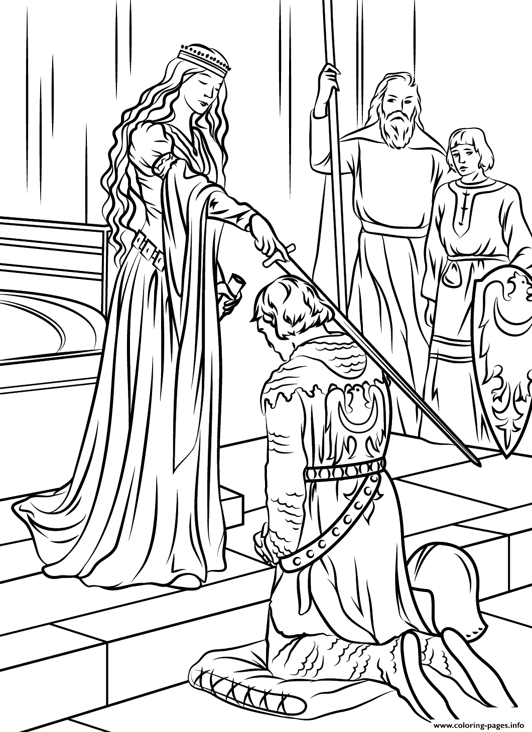 Medieval Princess Coloring Pages Printable