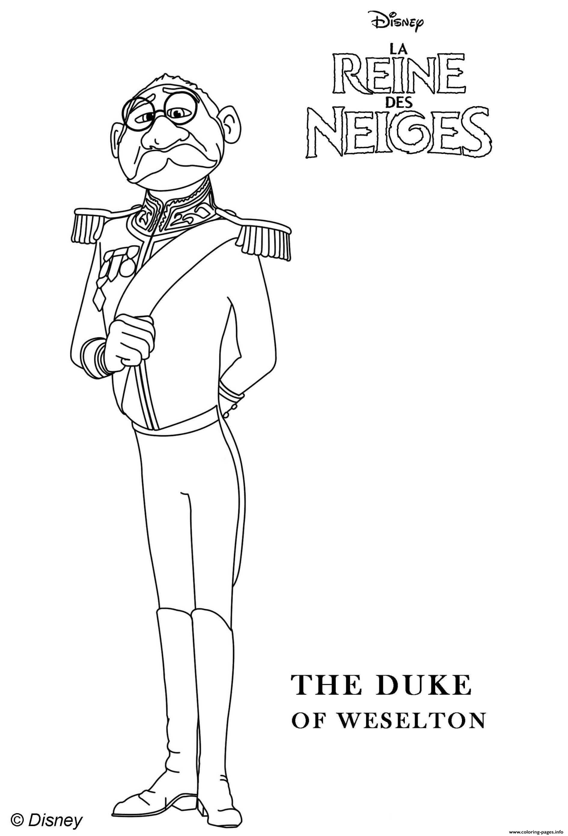 Duke Of Weselton From Frozen 2 Coloring Pages Printable