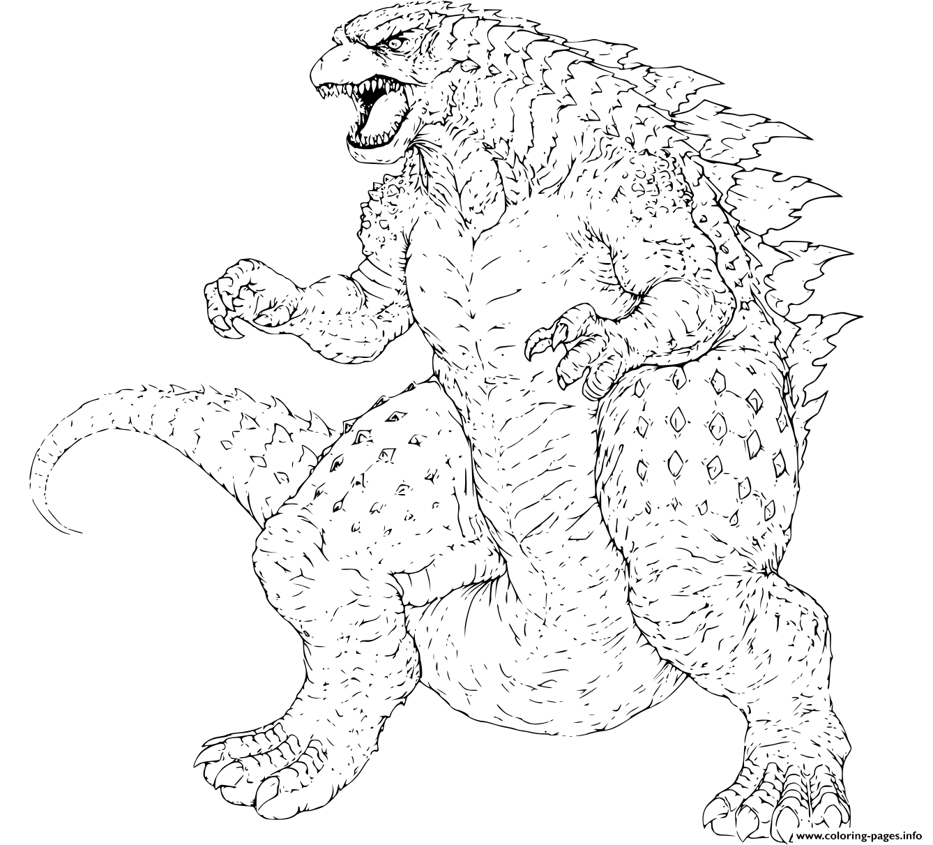 Godzilla Gojira Japanese Words Coloring Pages Printable