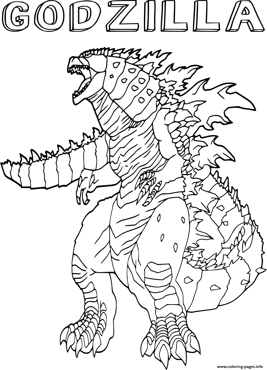 Godzilla Monster Creature Coloring Pages Printable