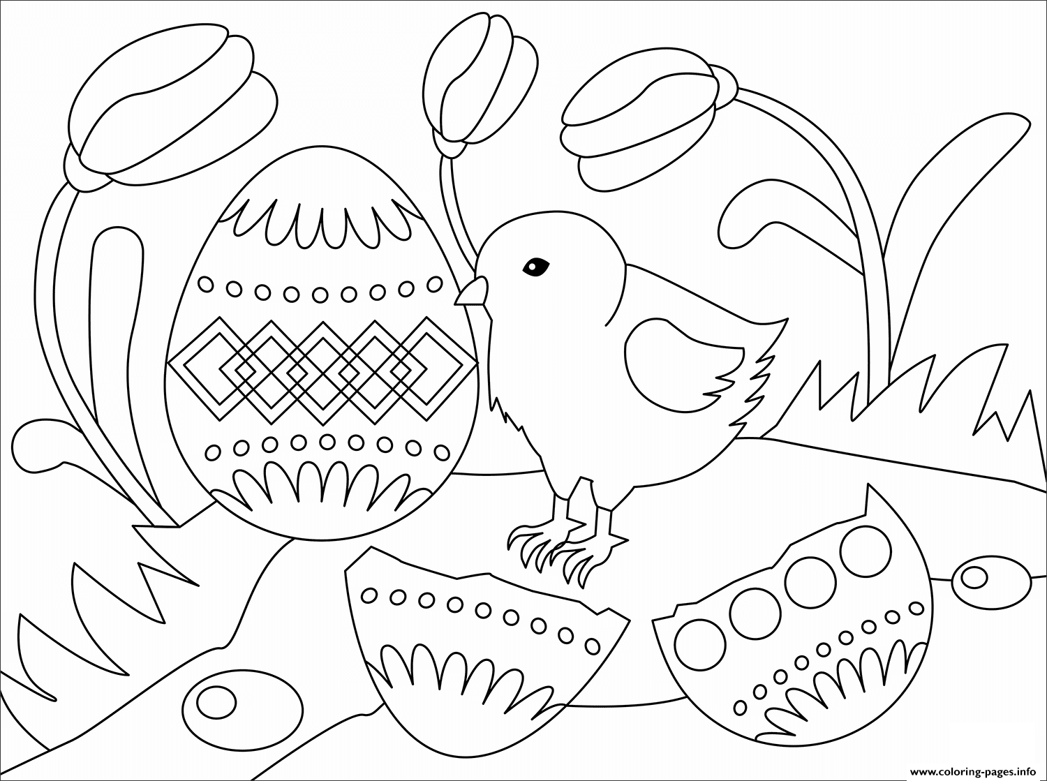 Easter Chick Animal Simple Coloring Pages Printable