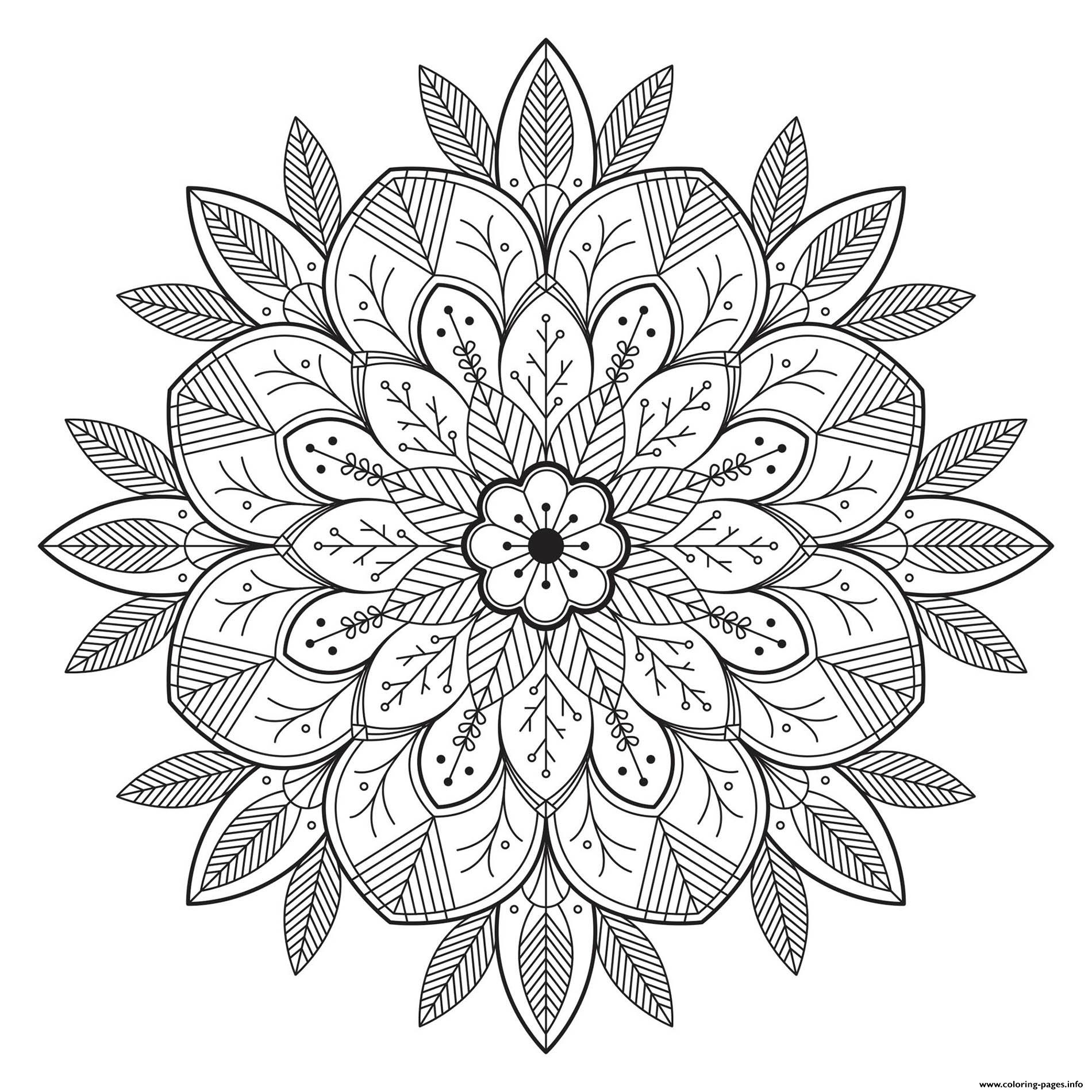Mandala Leaves And Flowers Coloring Pages Printable