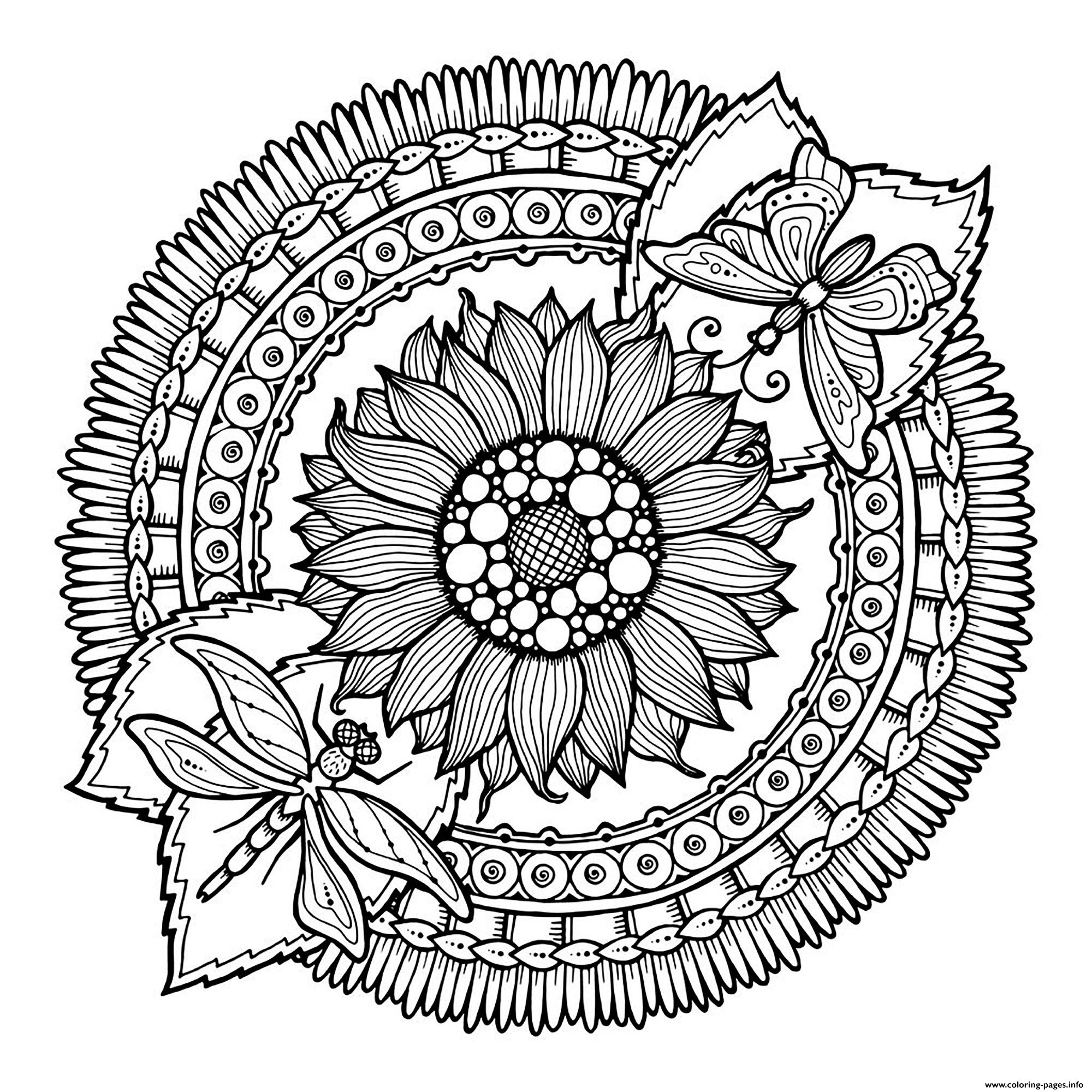 Mandala To Download Butterlfies With Flower coloring pages