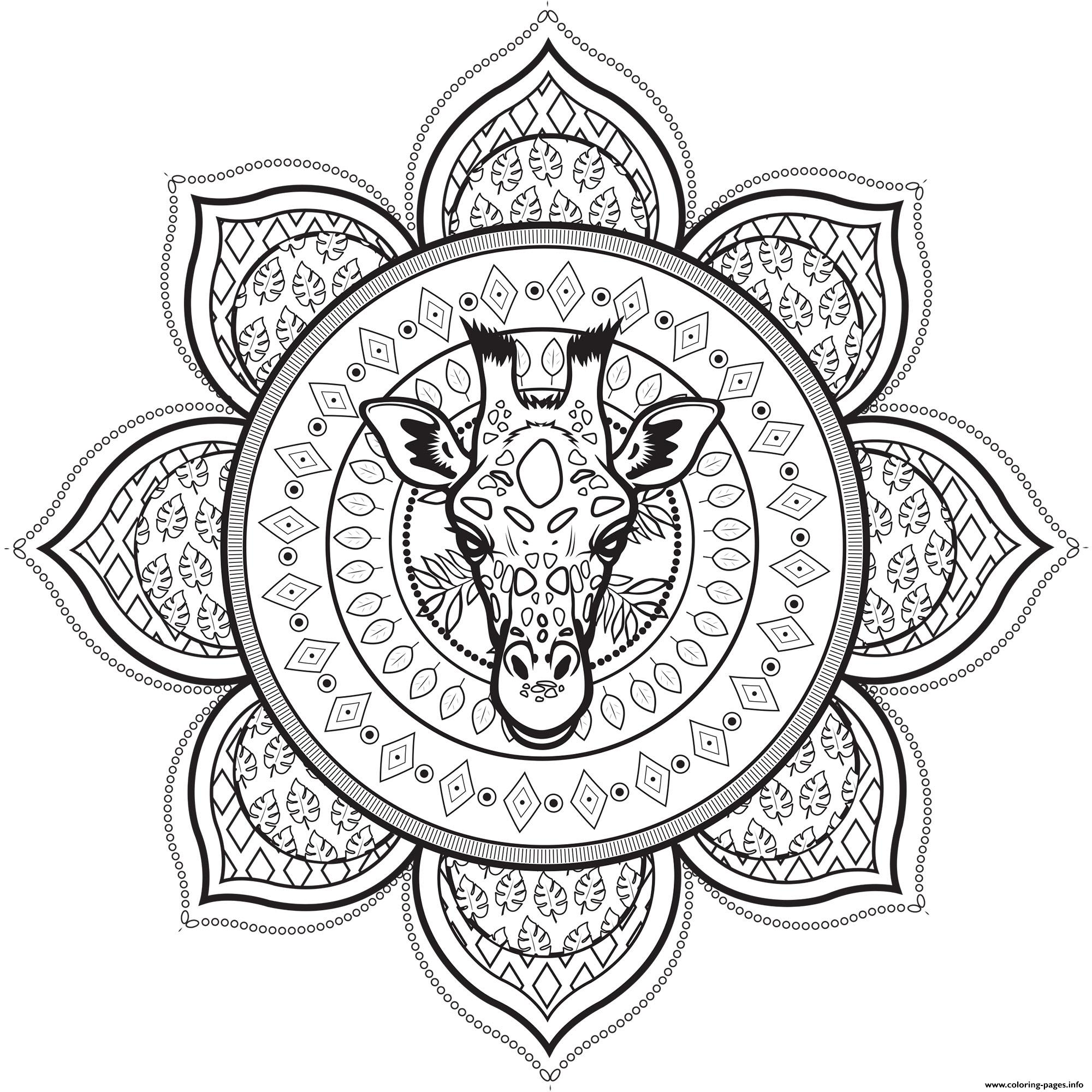 Mandala Giraffe Coloring Pages Printable