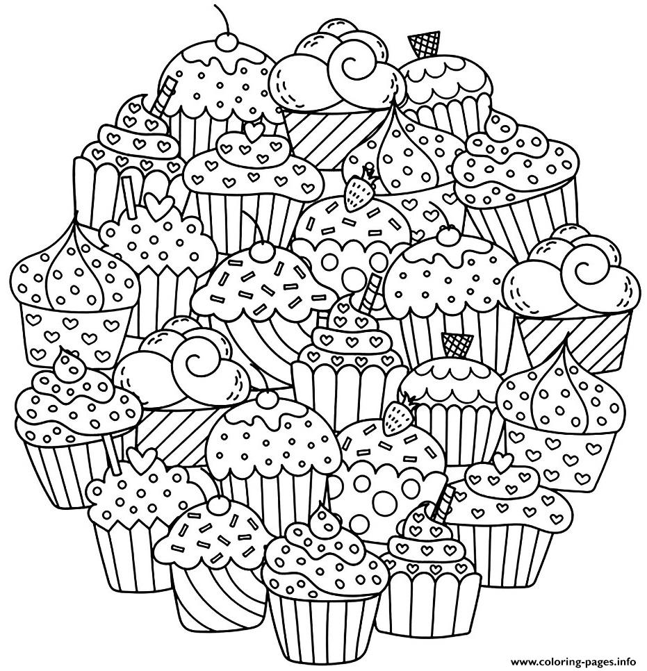Mandala Delicious Cupcakes coloring pages