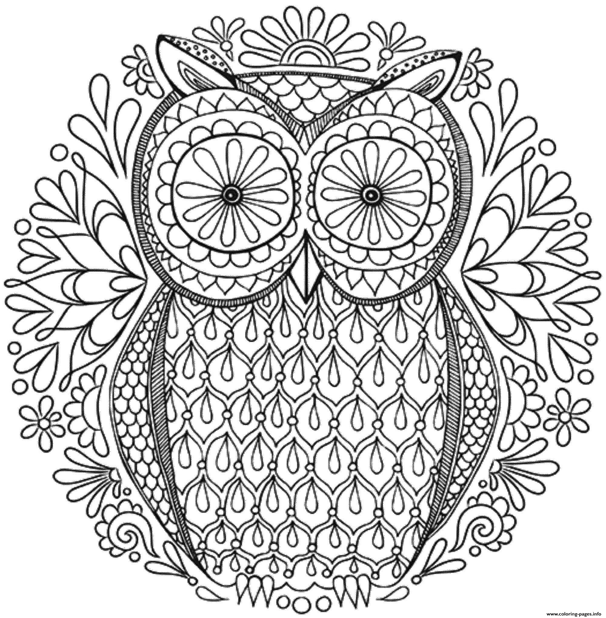 Mandala To Download Magical Owl coloring pages