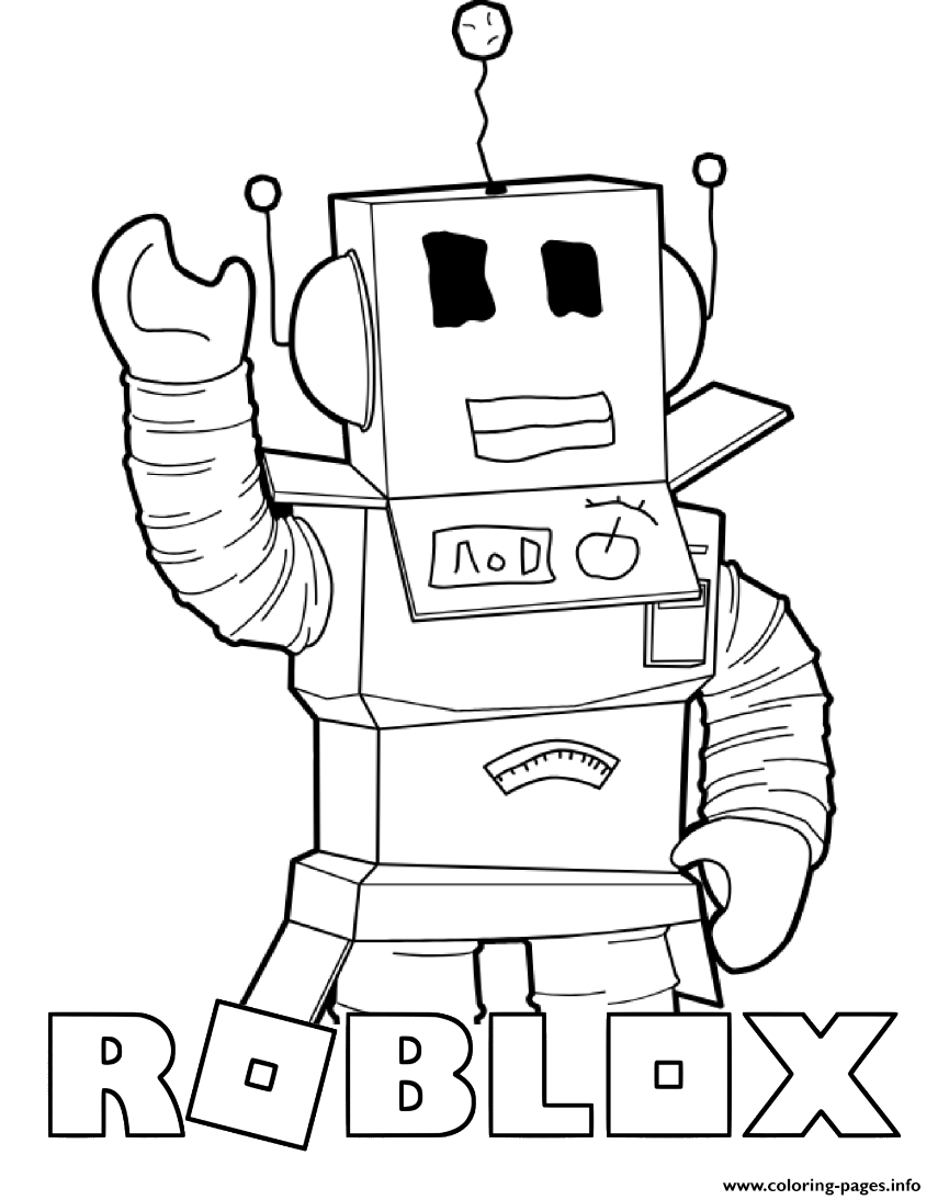Robot Saying Hi From Roblox Coloring Pages Printable