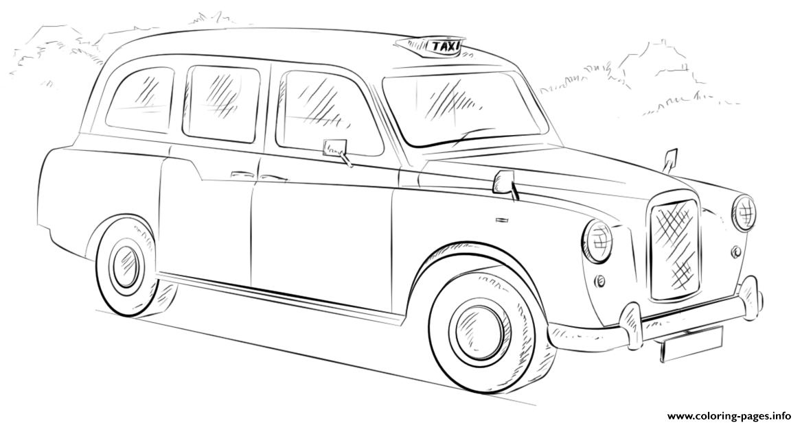 London Taxi Cab United Kingdom coloring pages