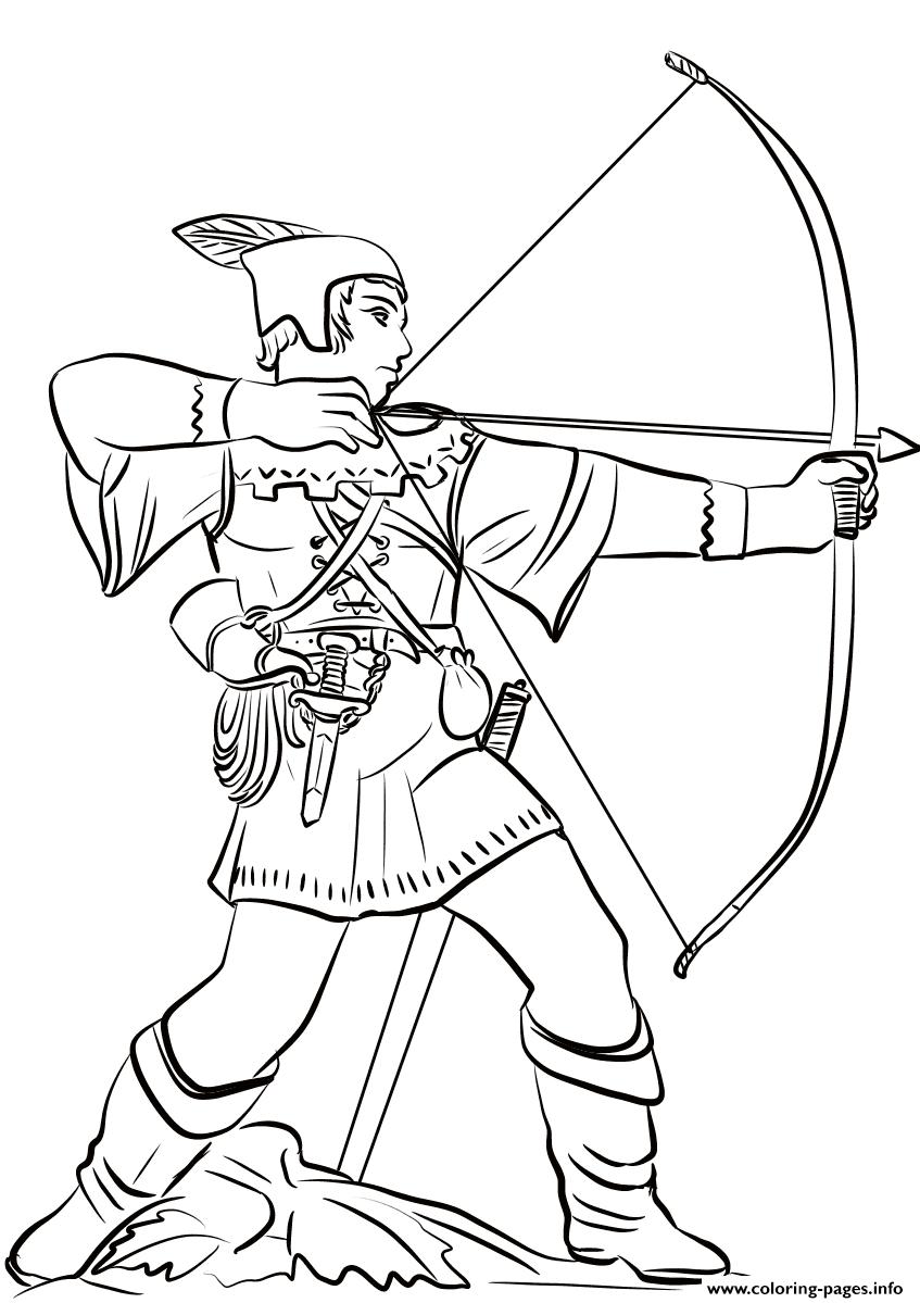 Robin Hood Statue Nottingham Castle United Kingdom Coloring Pages Printable