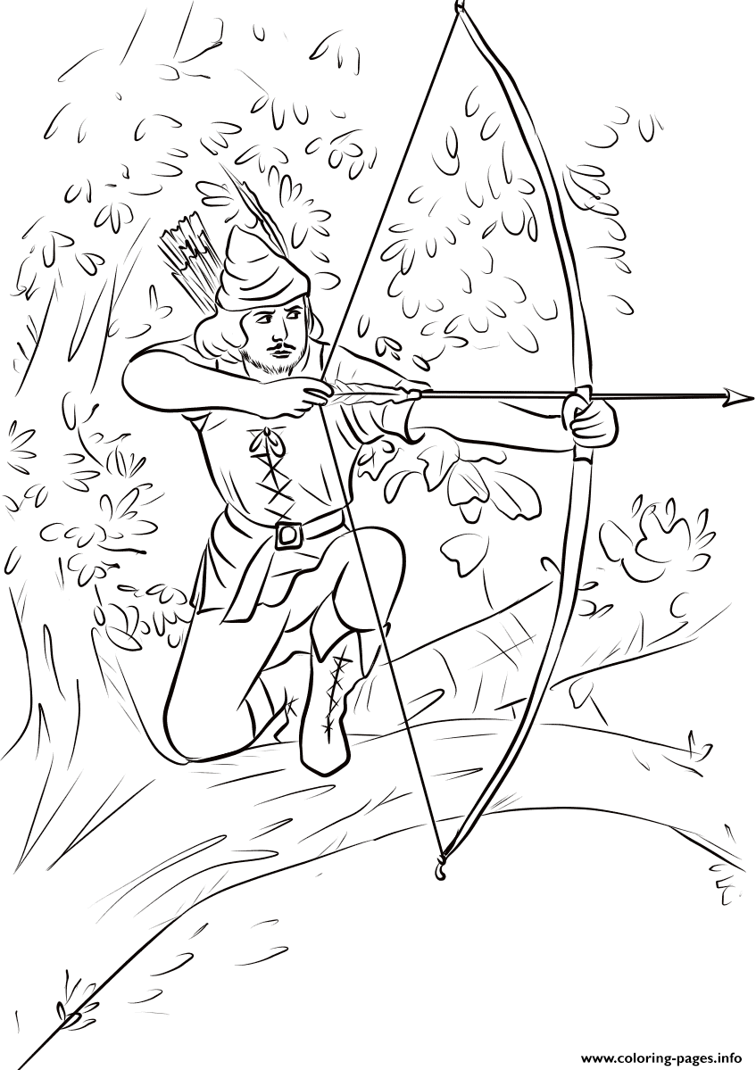 Robin Hood Sitting On A Tree Branch United Kingdom coloring pages