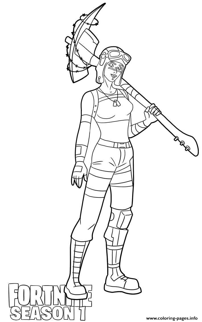 Renegade Raider Skin From Fortnite Season 1 Coloring Pages Printable