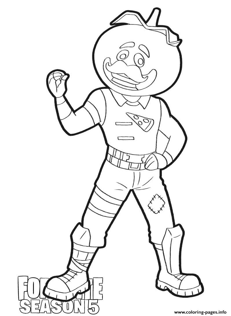 Tomatohead Skin From Fortnite Season 5 Coloring Pages