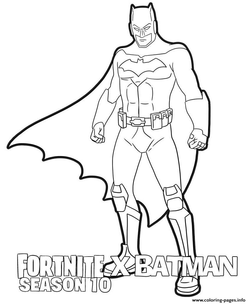 Fortnite X Batman Season 10 Coloring Pages Printable