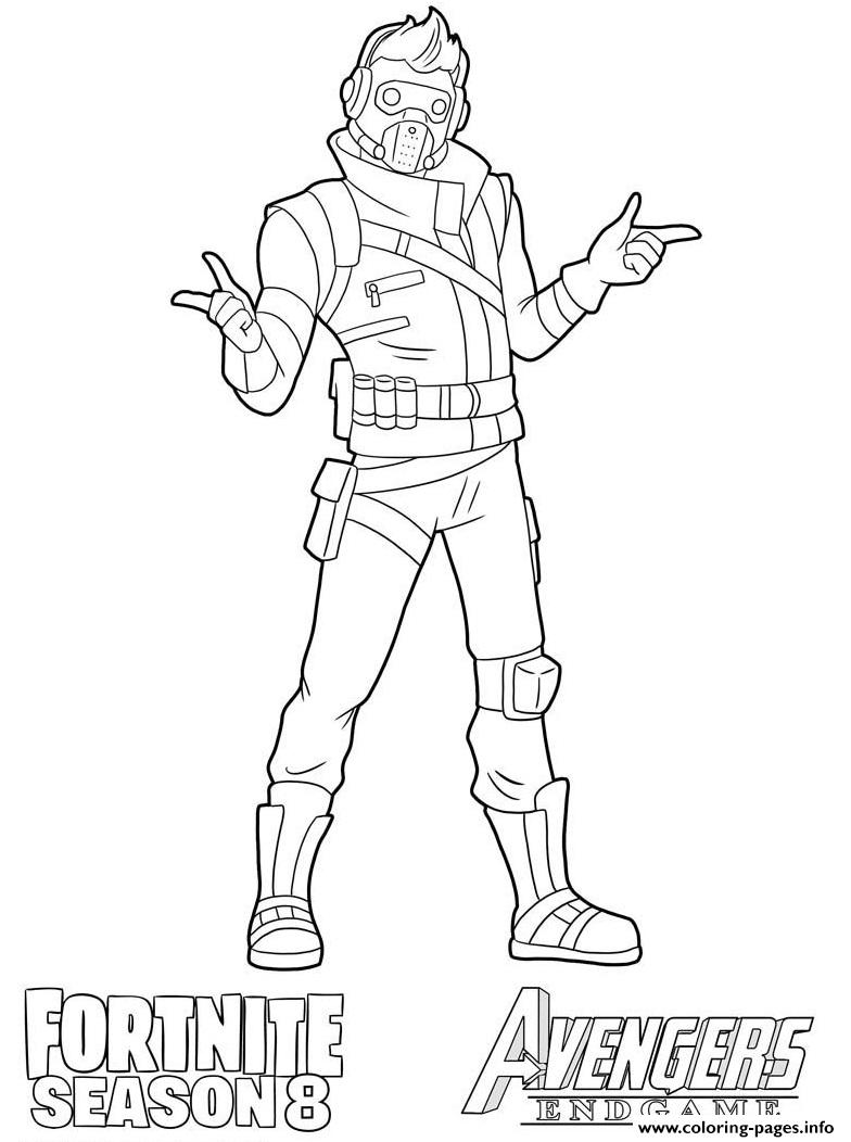 Starlord Fortnite Avengers Endgame Coloring Pages Printable