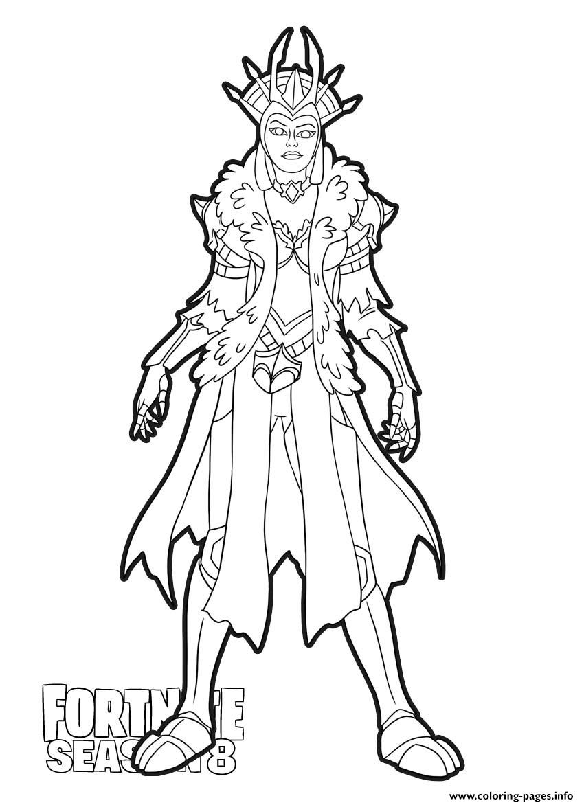 Ice Queen From Fortnite Season 8 Coloring Pages Printable