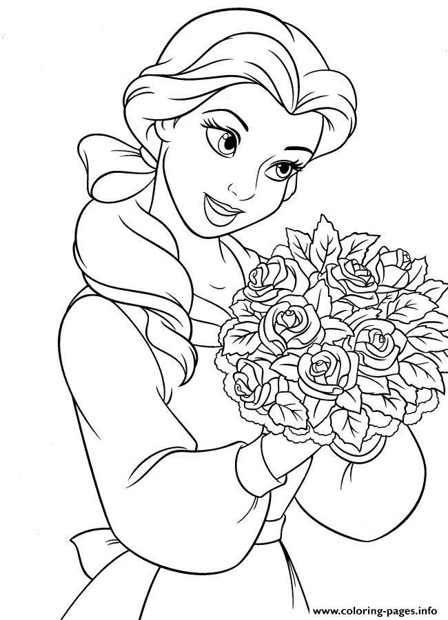 - Belle Loves Flower Disney Princess Coloring Pages Printable