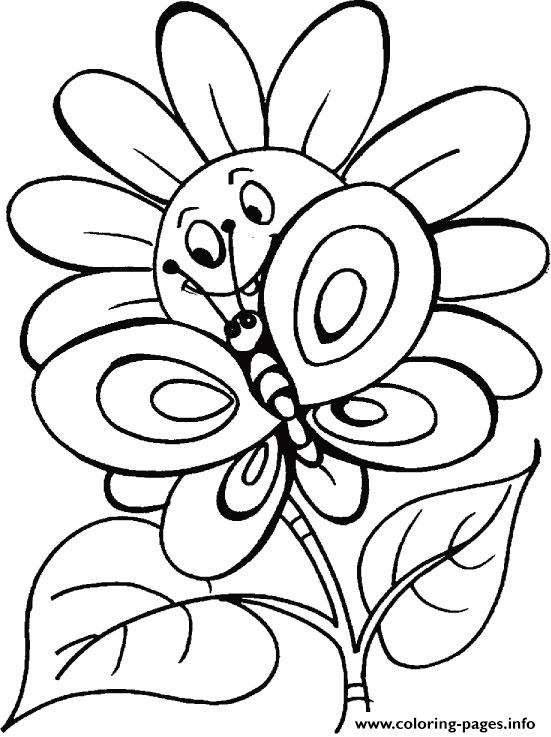 Butterfly S With Flowers Coloring Pages Printable