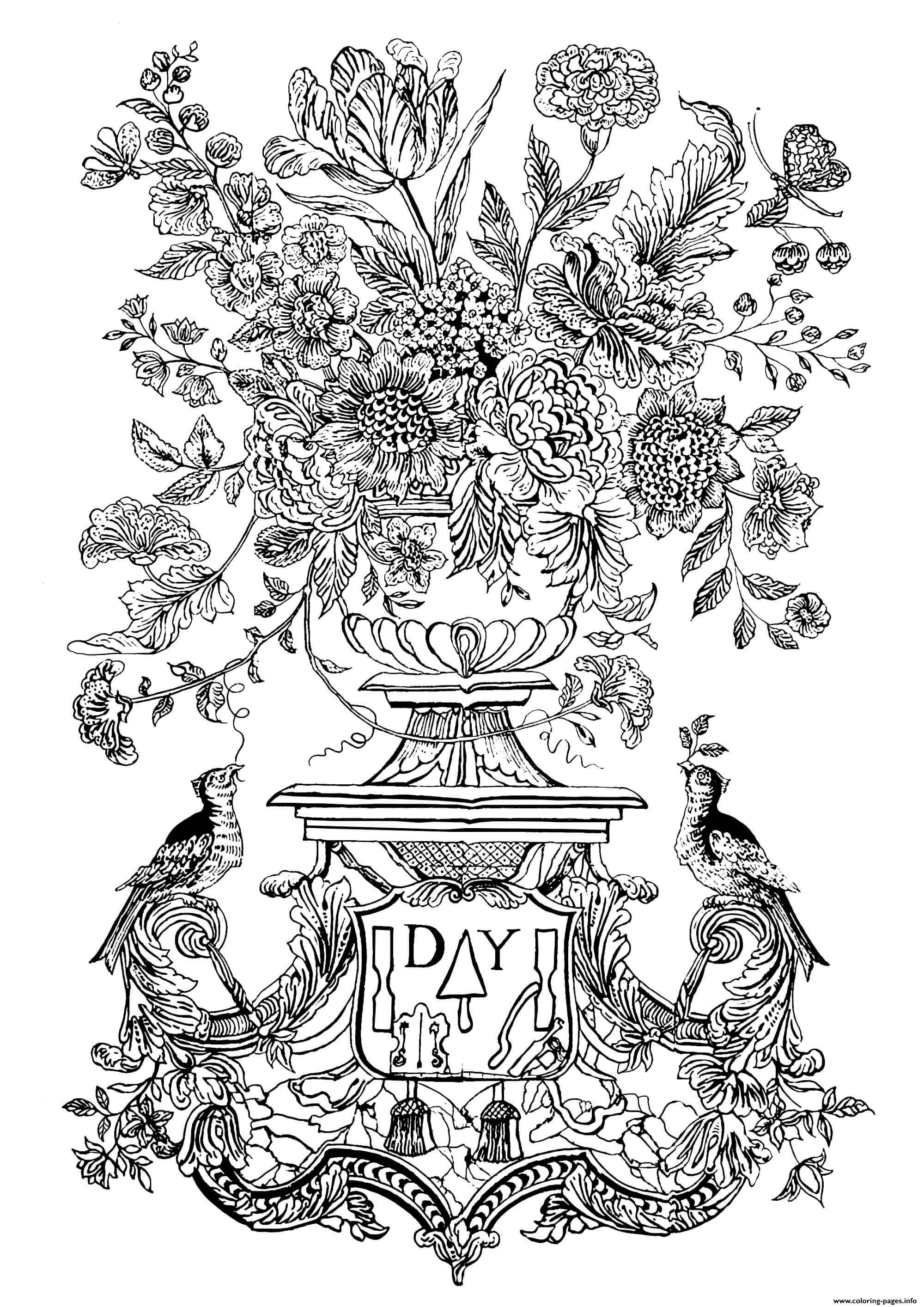 photo about Printable Mural identified as Complicated Flower Vase And Birds 1740 Mural Tile Coloring Internet pages