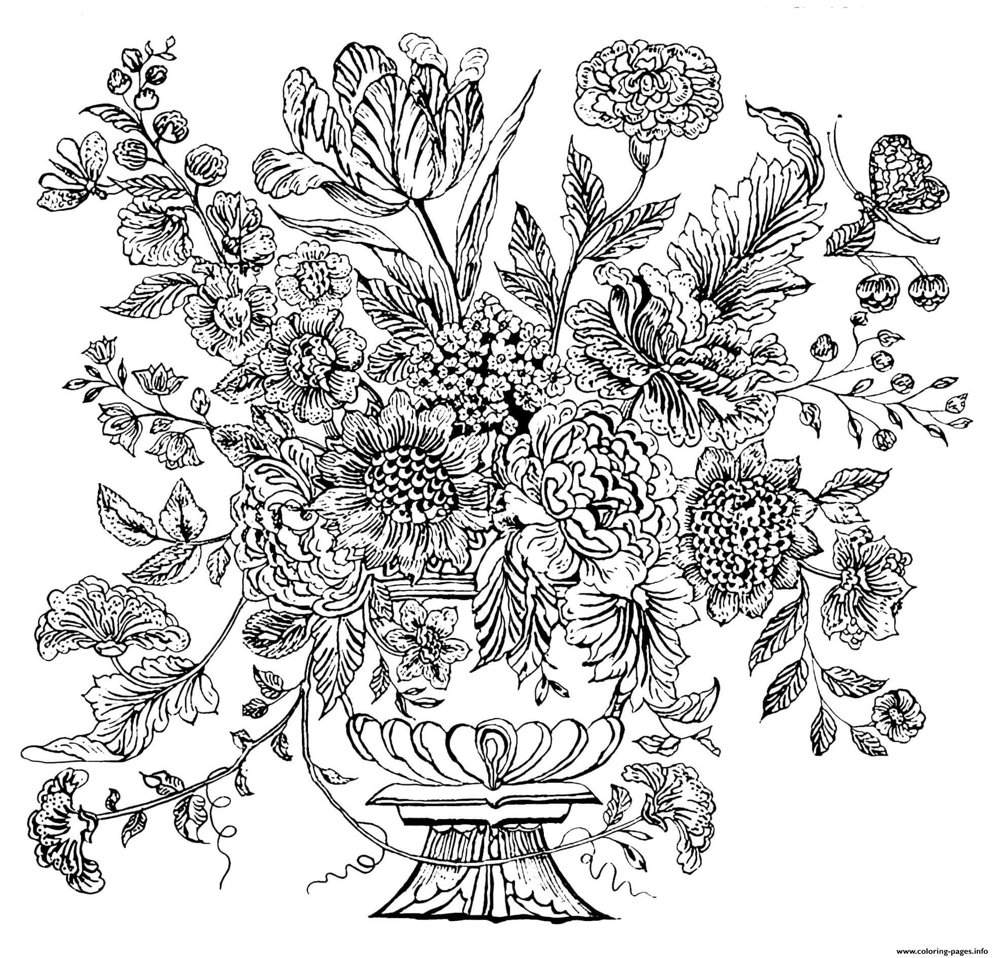Complex Flower Vase 1740 Mural Tile Coloring Pages Printable