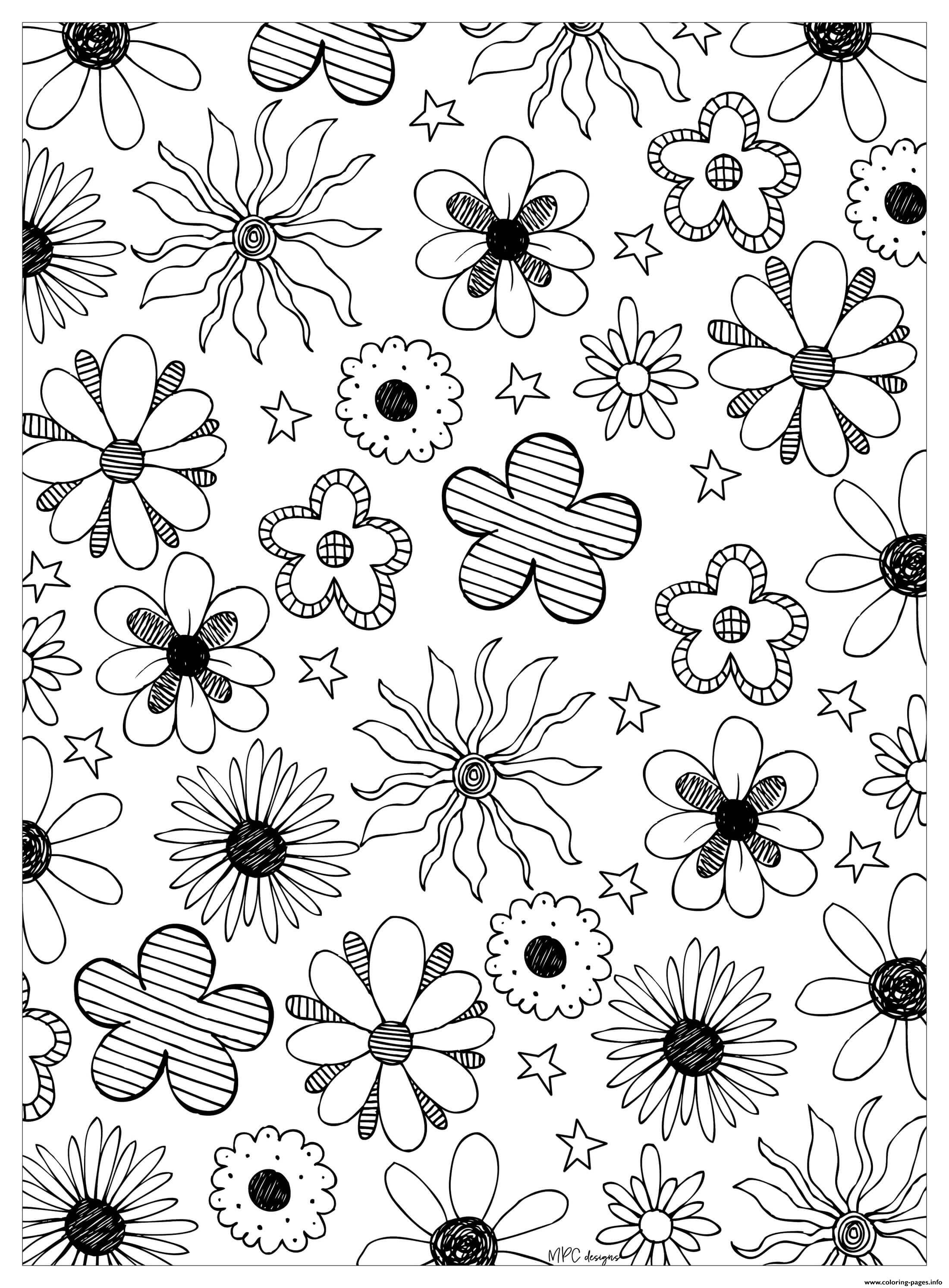 Flowers Adult By Mpc Design Coloring Pages Printable