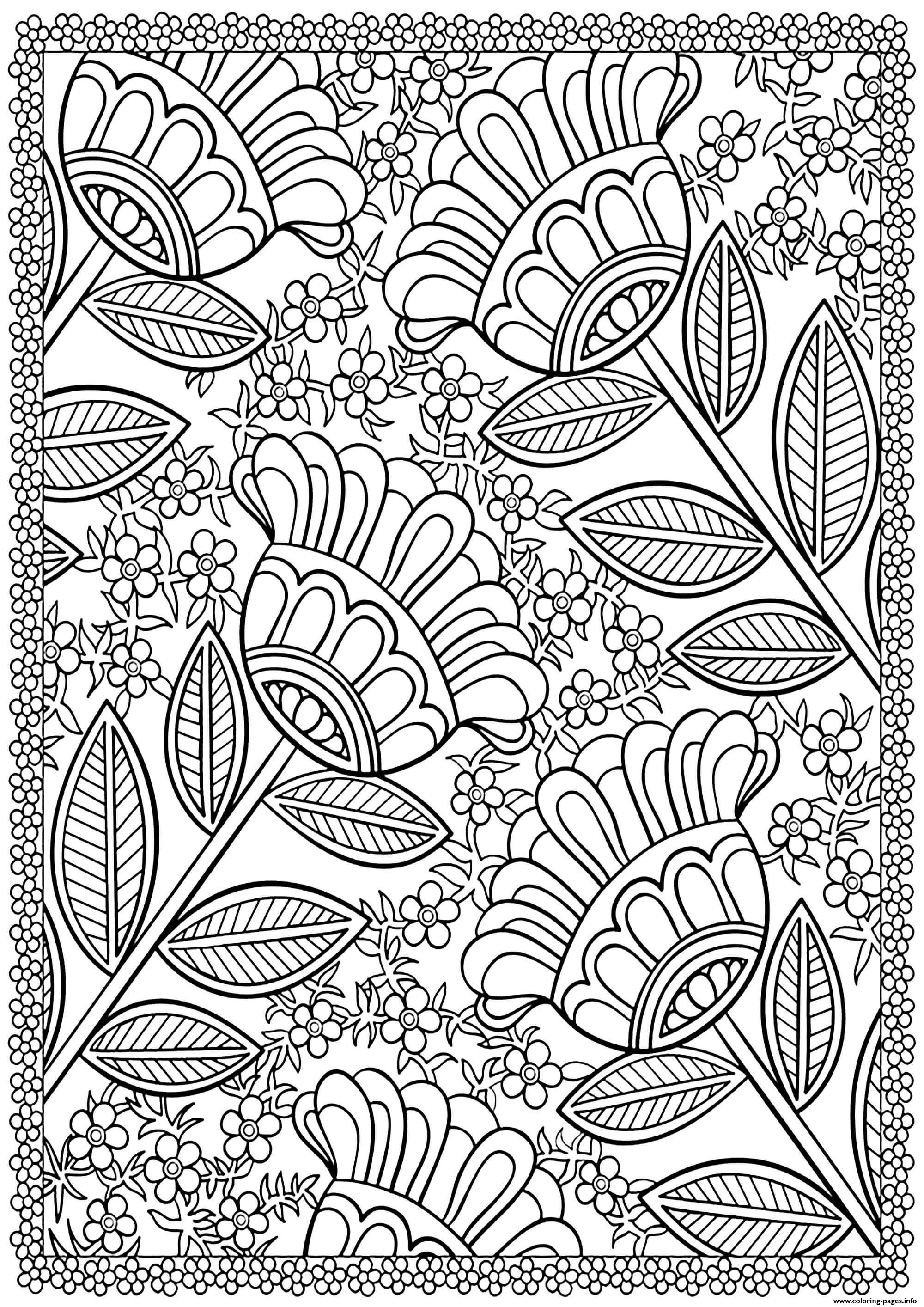 Four Big Flowers Coloring Pages Printable
