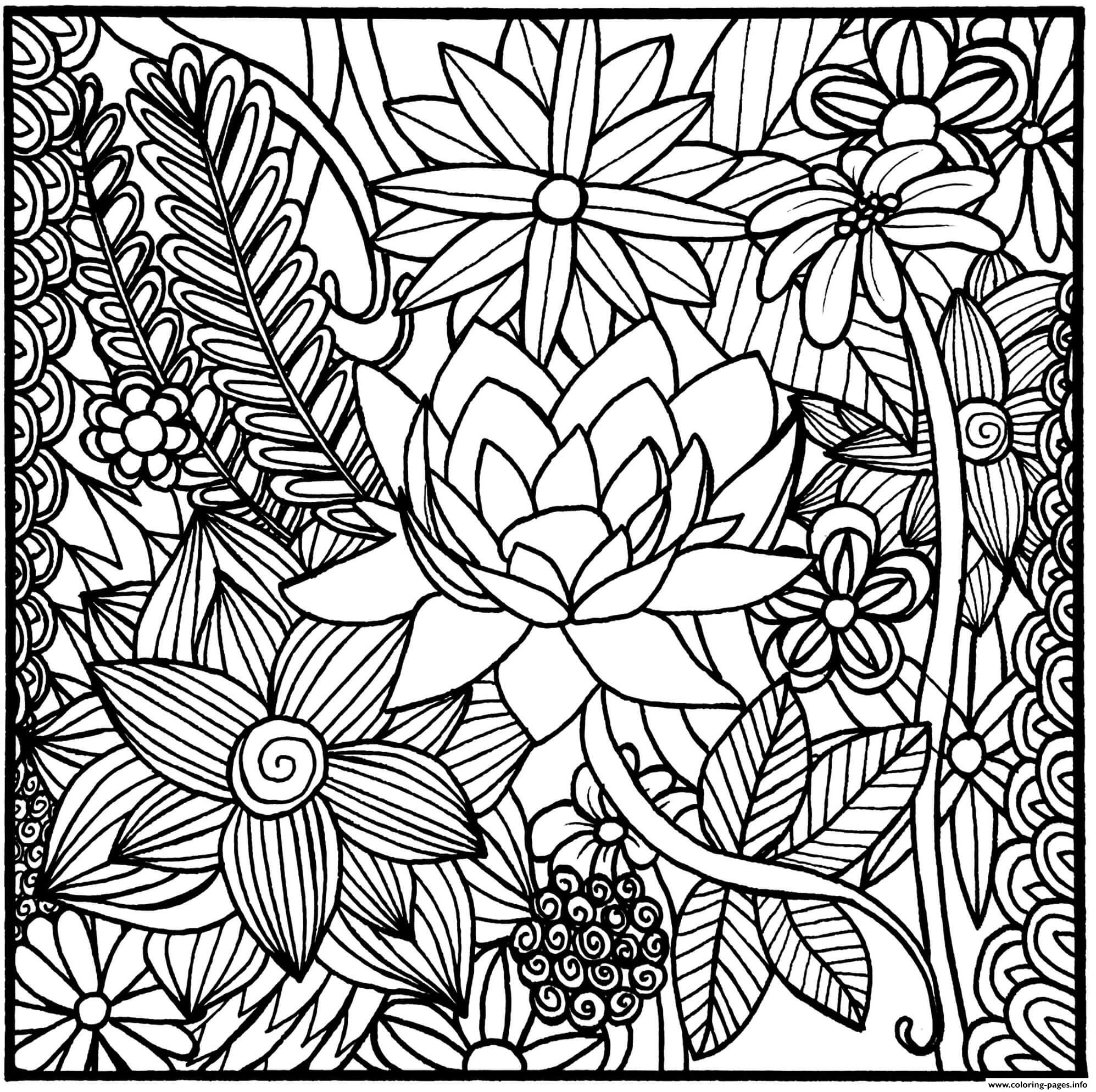Realistic Flowers In A Square Coloring Pages Printable