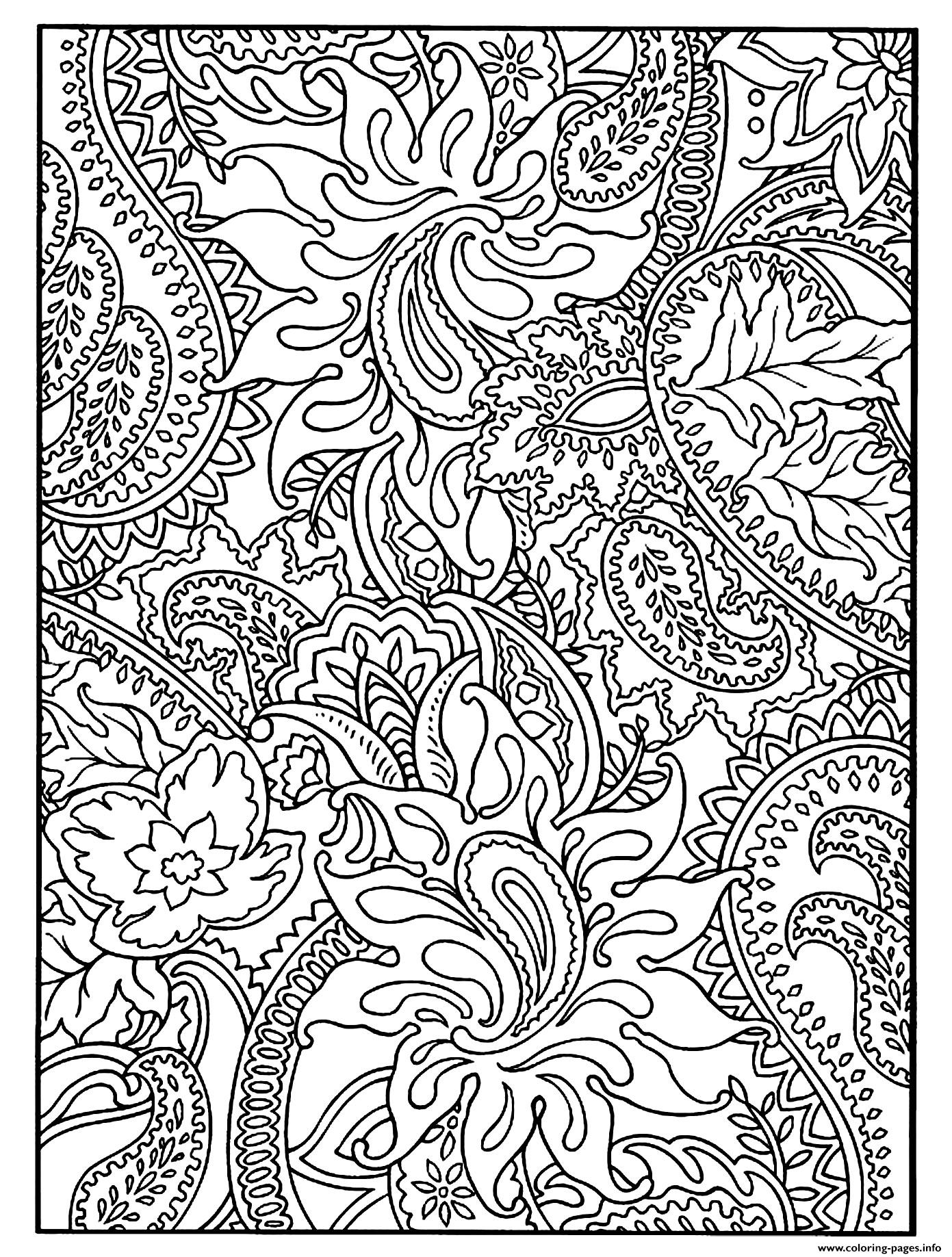 Flowers And Harmonious Paisley Patterns Coloring Pages Printable