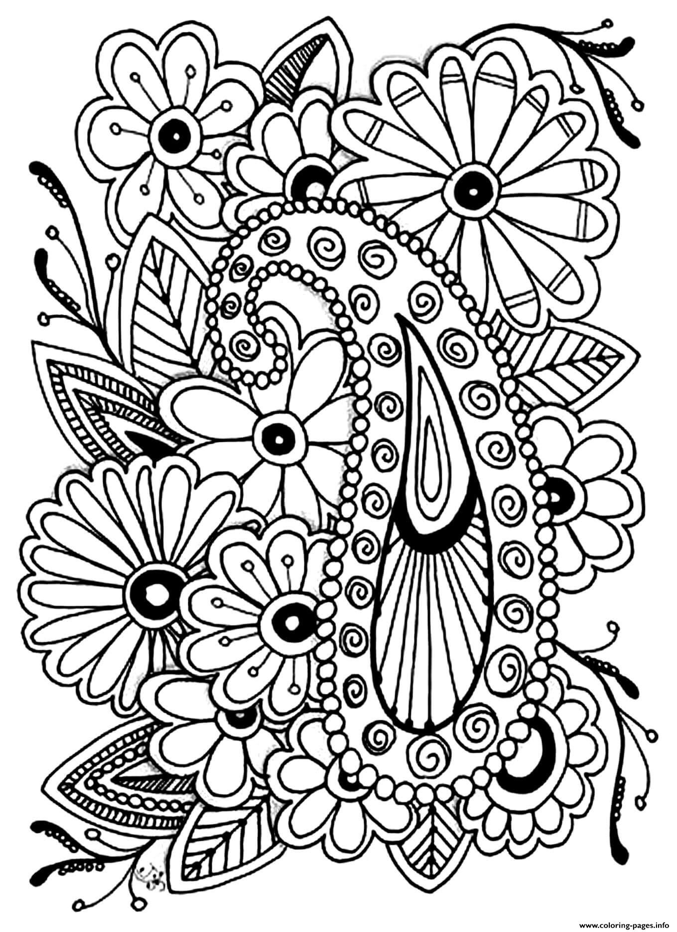 Paisley Coloring Pages Floral Paisley Coloring Page Free Printable ... | 1871x1359