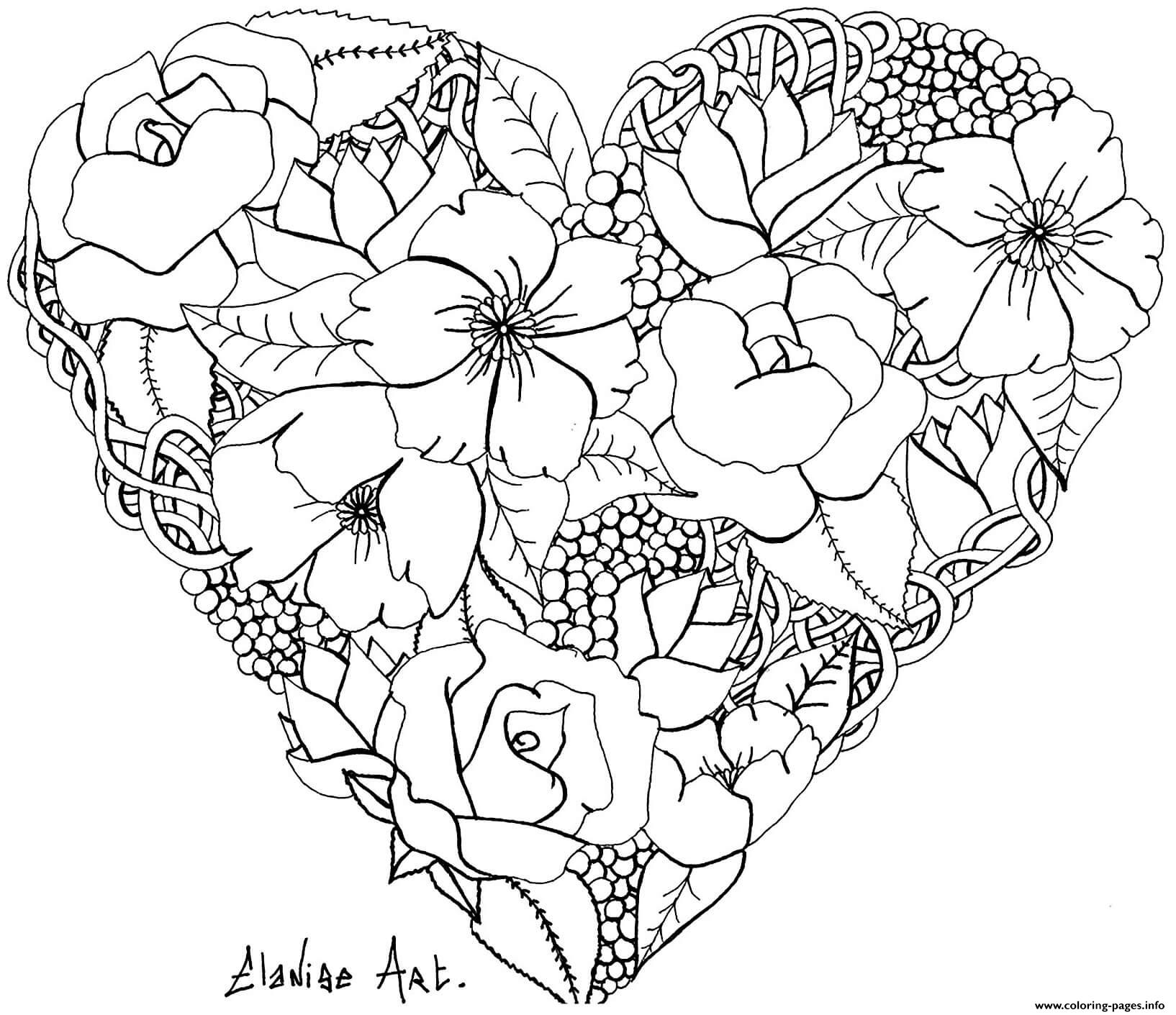 Adult Elanise Art Flowers In A Heart Coloring Pages Printable