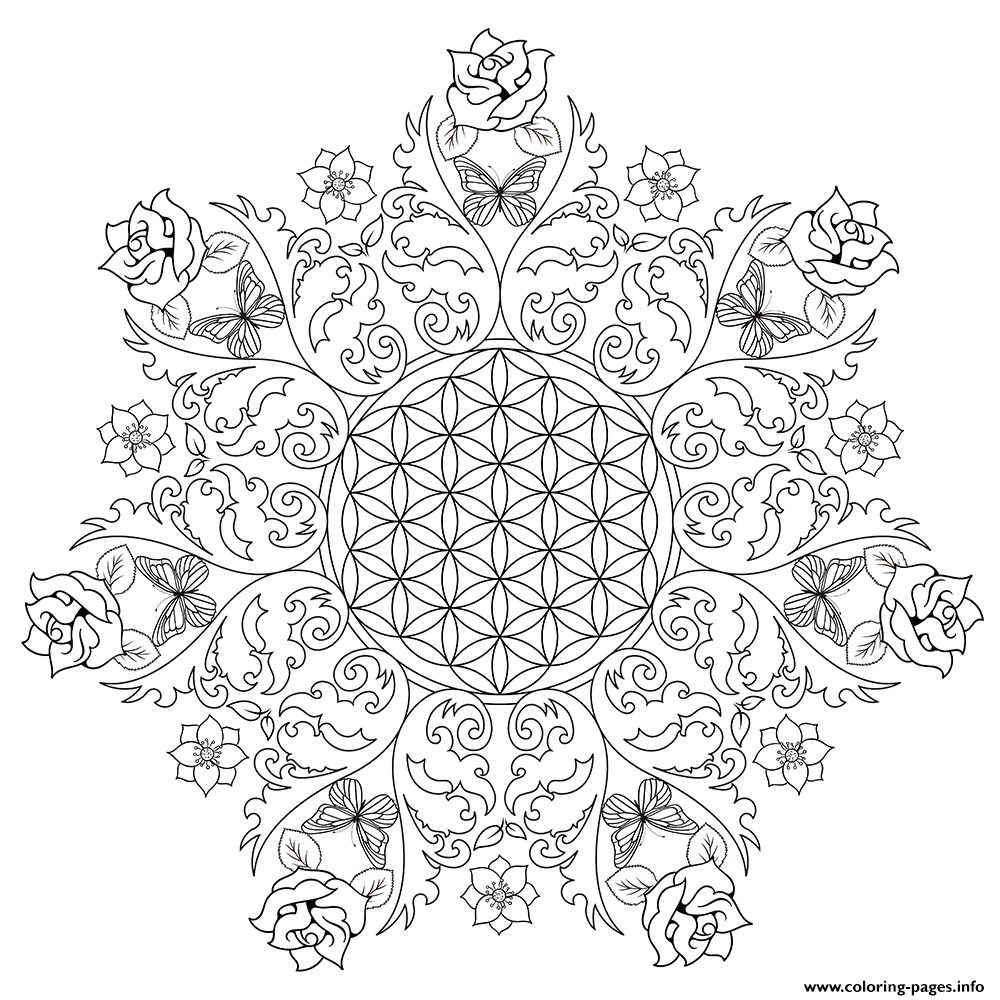 - Complex Flower Rose Mandala Coloring Pages Printable