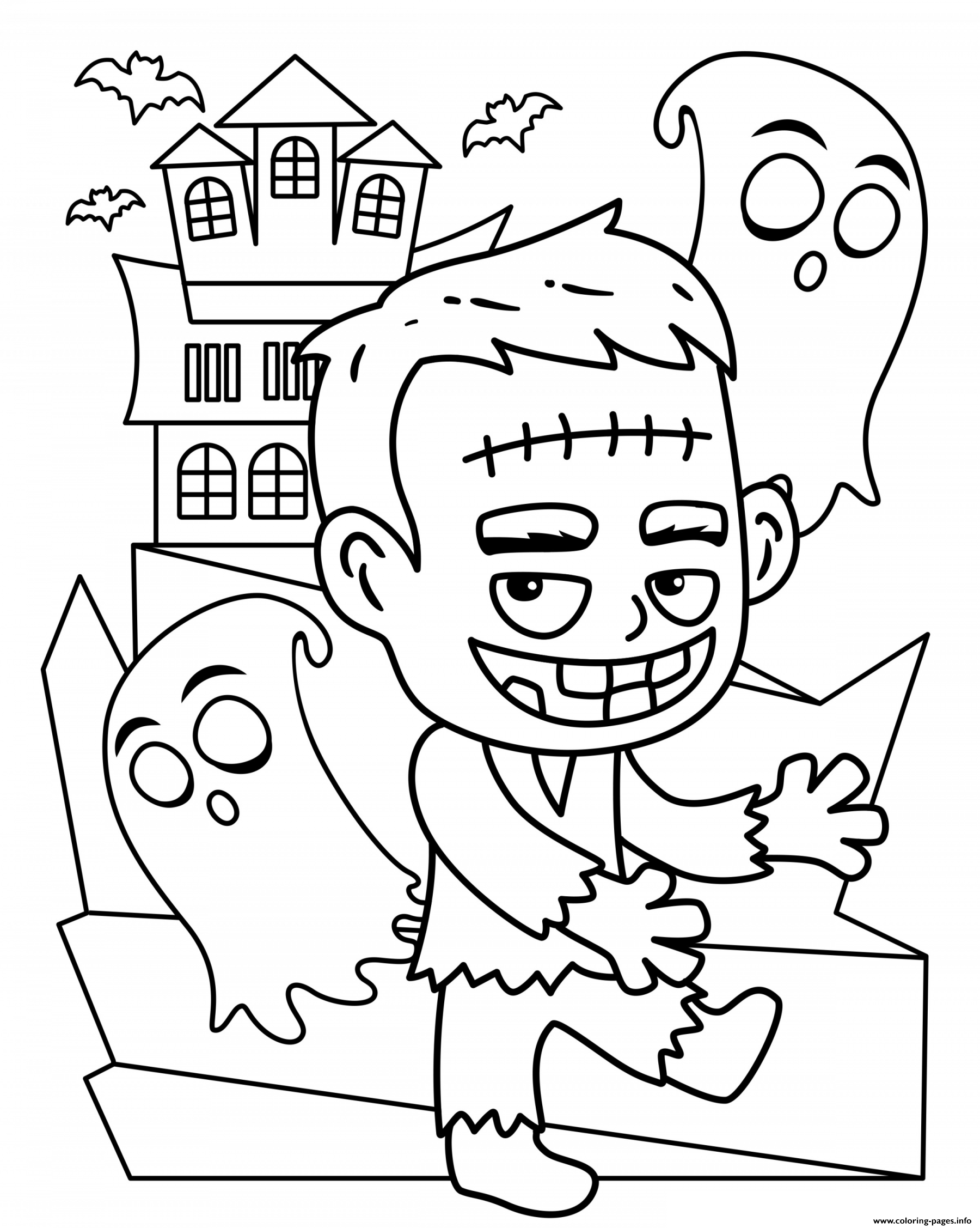 - Halloween Frankenstein Cute Kids Coloring Pages Printable
