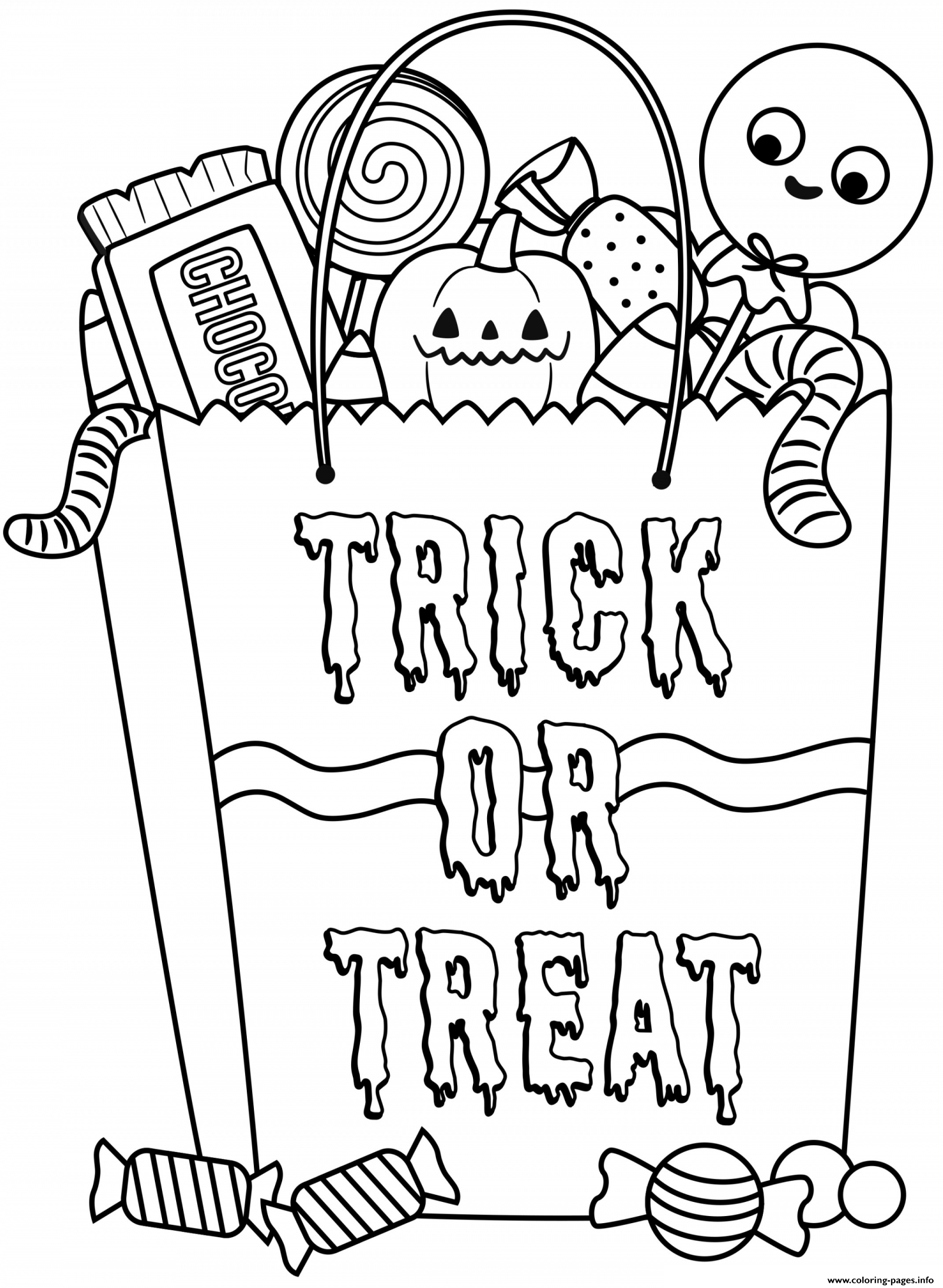 - Halloween Candy Bag With Treats Coloring Pages Printable