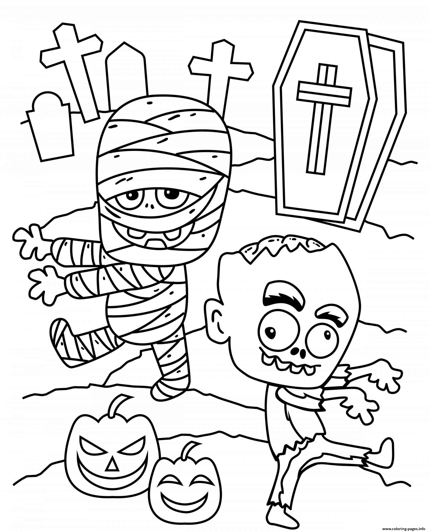 Cemetery Halloween With Monsters Coloring Pages Printable