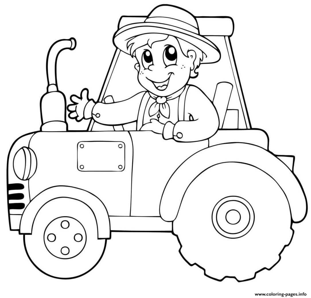 Thanksgiving Boy On Tractor Coloring Pages Printable