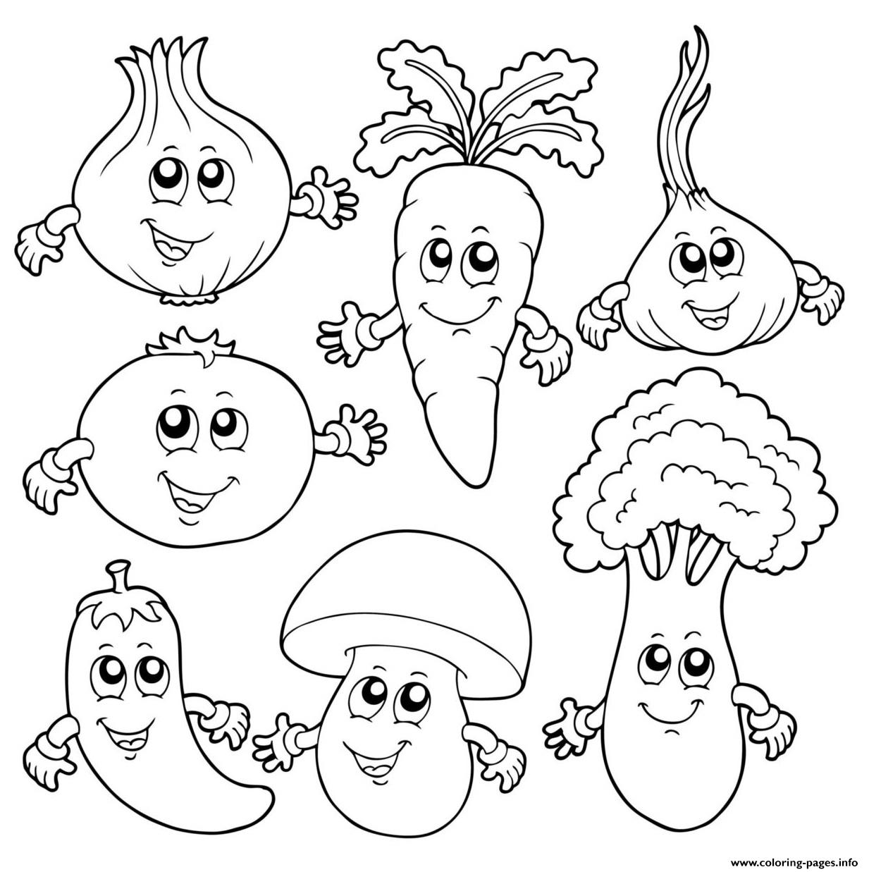 Cute Food Friends For Kids Coloring Pages Printable