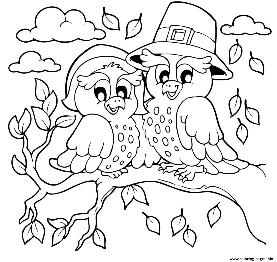 Pilgrim Owls Animal coloring pages