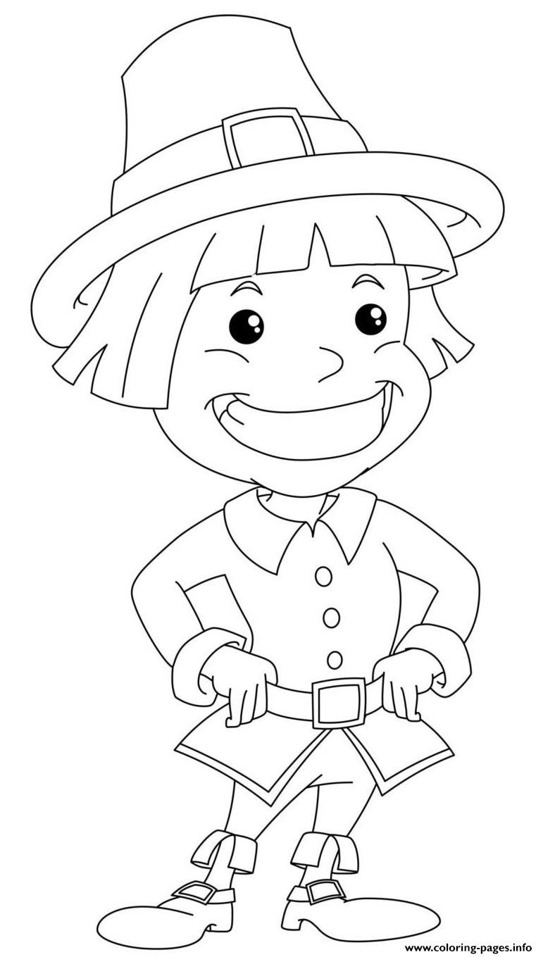 Pilgrim Boy Coloring Pages Printable