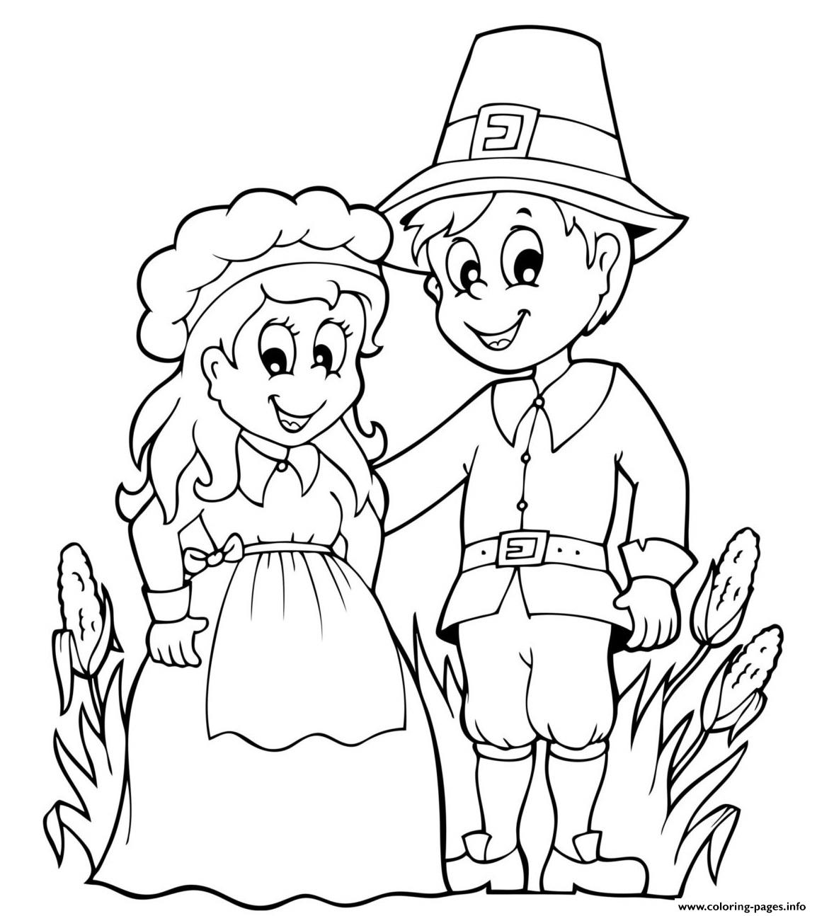 Pilgrim Couple For Thanksgiving coloring pages