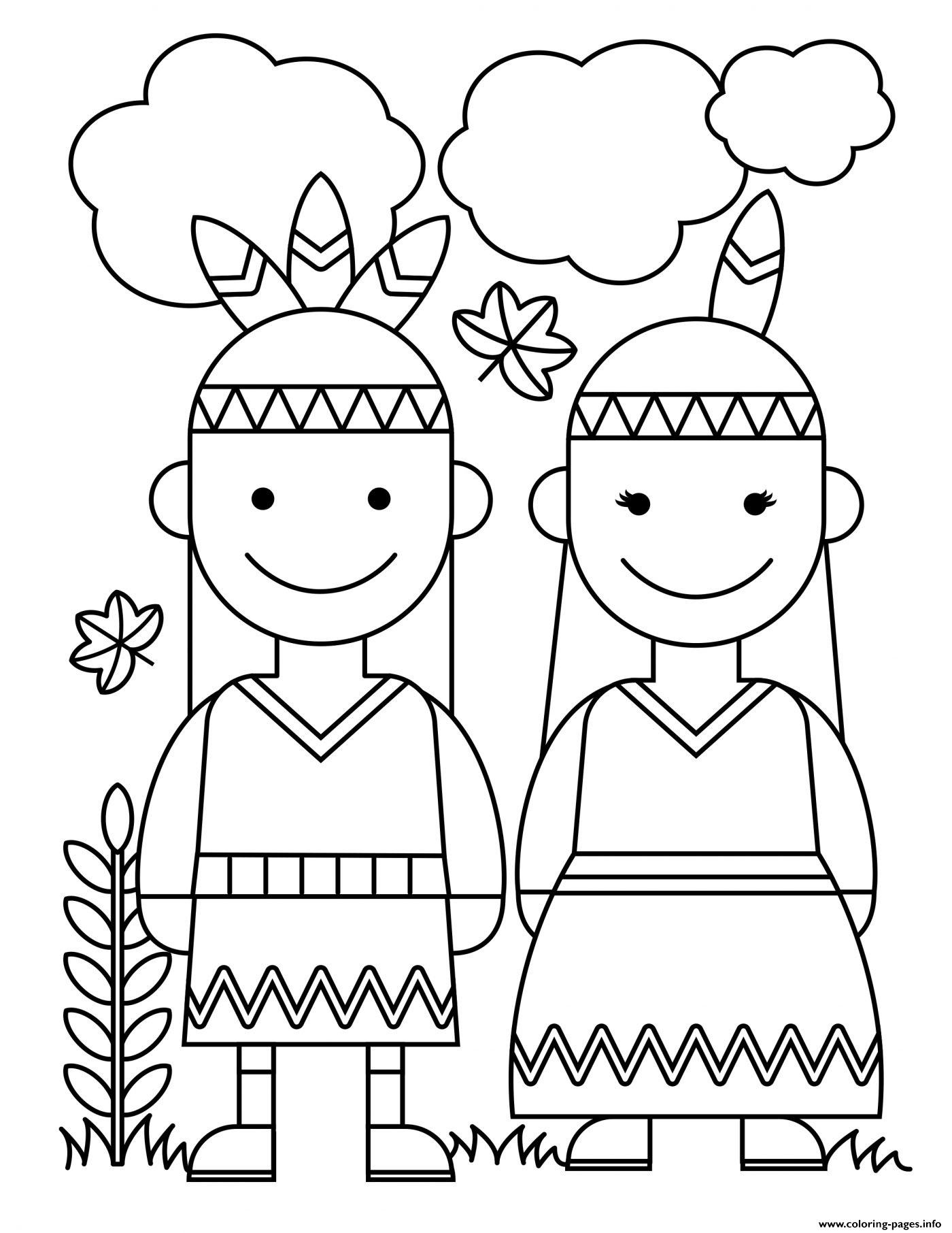 Thanksgiving Native American Indians coloring pages