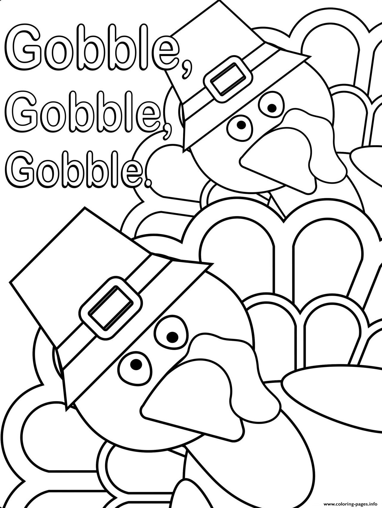 Thanksgiving Turkey Gobble Gobble coloring pages