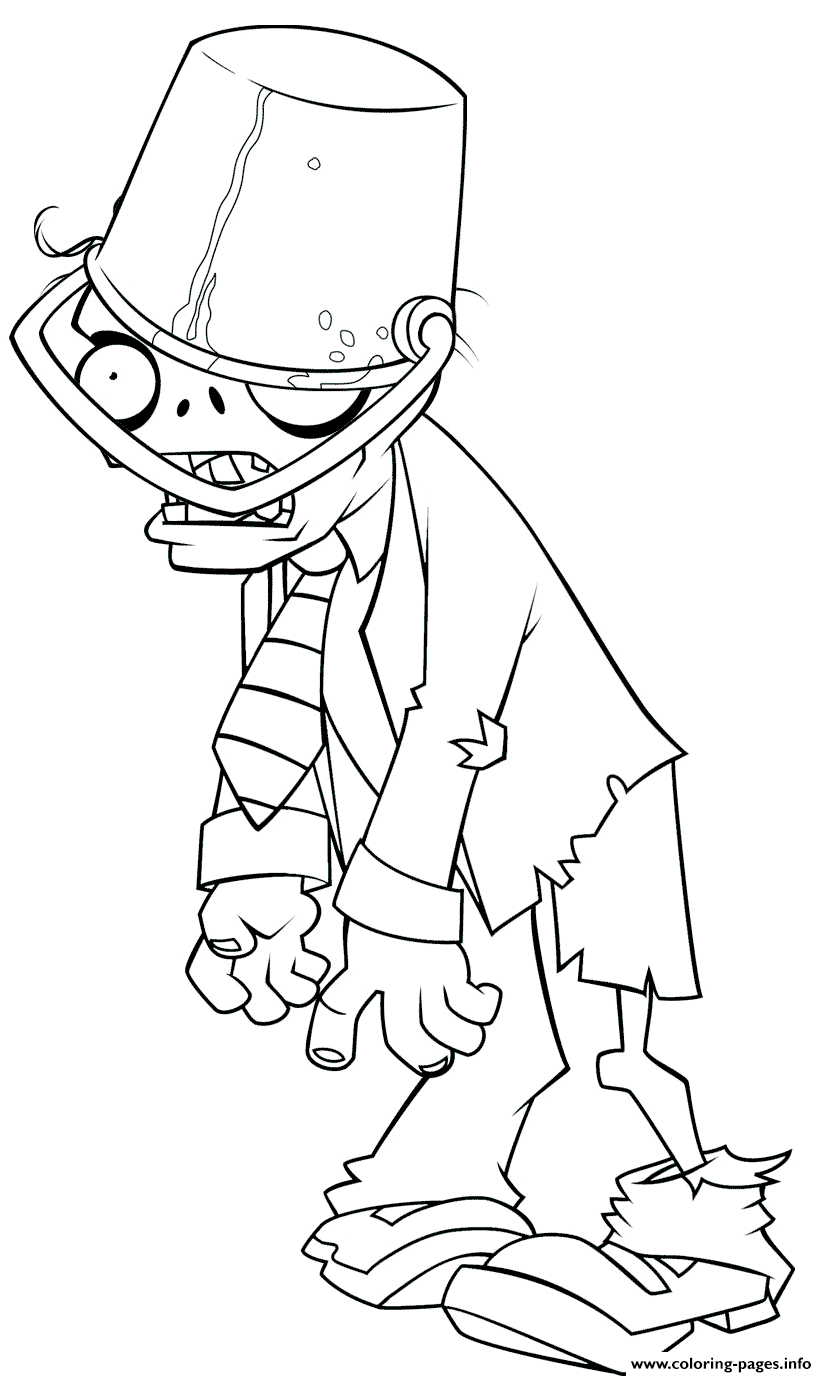 Plants Vs Zombies Buckethead Zombie Coloring Pages Printable