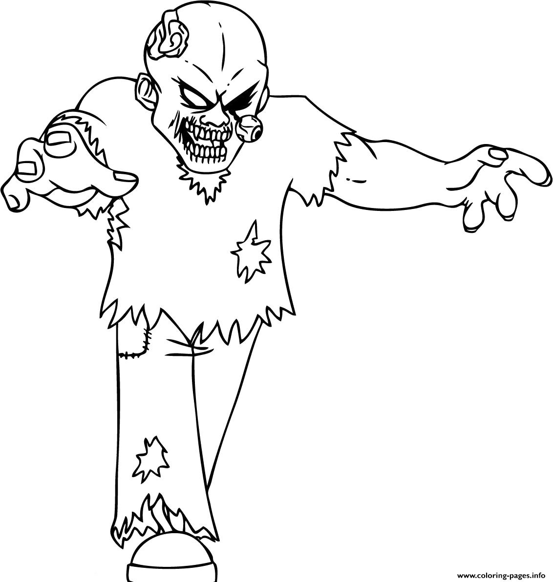 Scary Zombie Eye Out Coloring Pages Printable