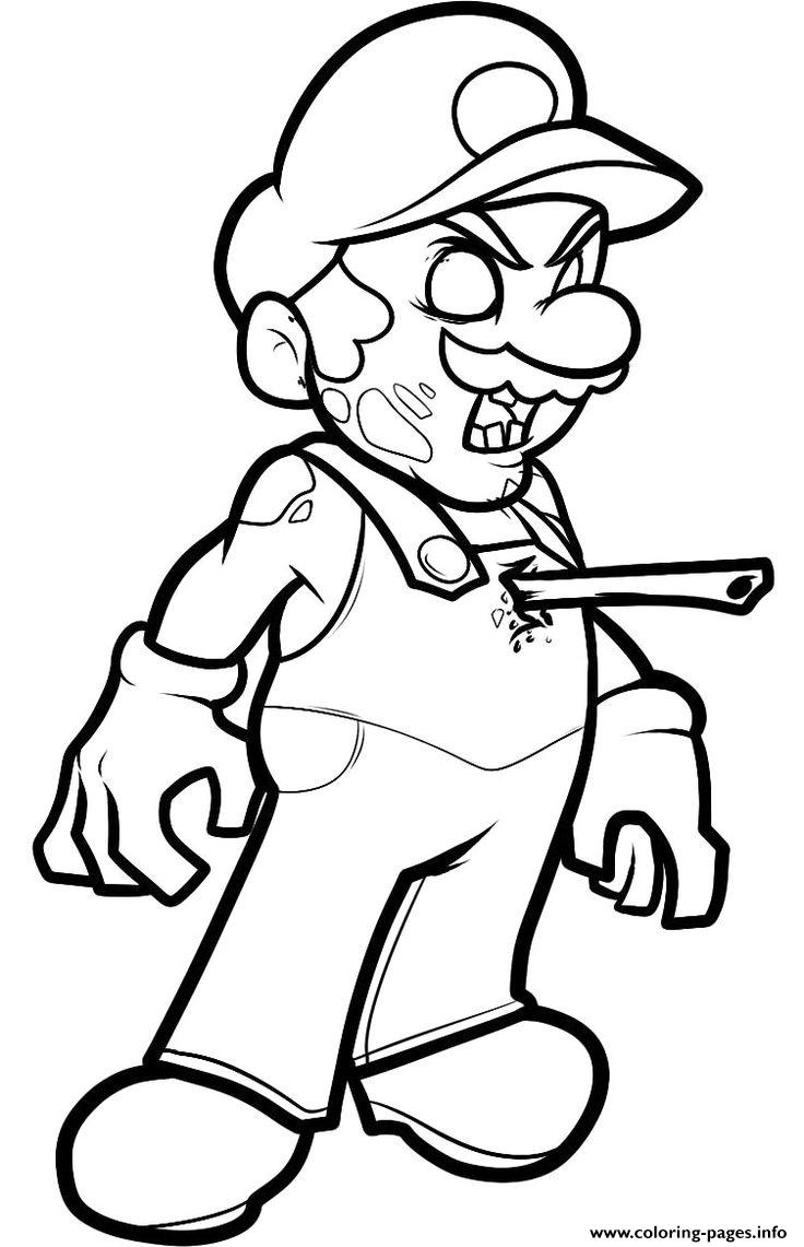 Mario Zombie Coloring Pages Printable