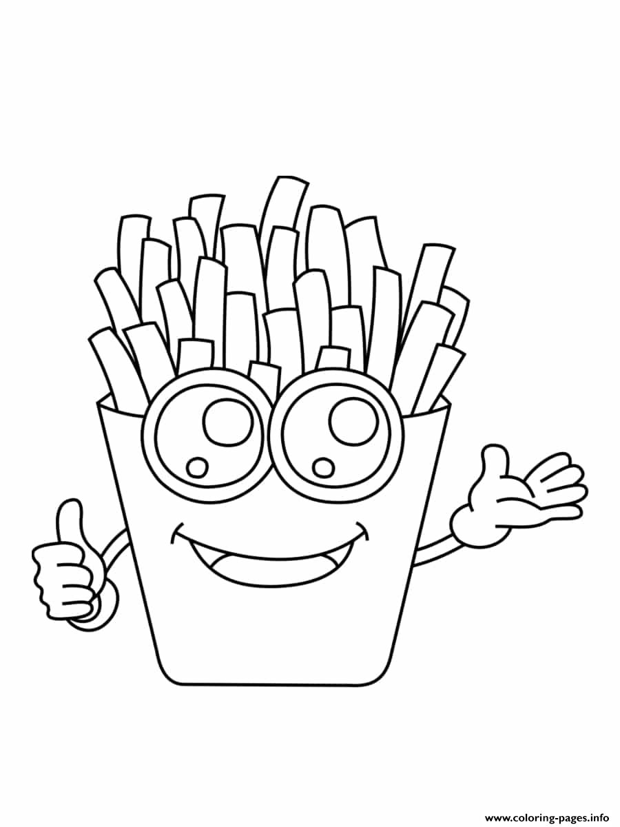 French Fries Kawaii Coloring Pages Printable