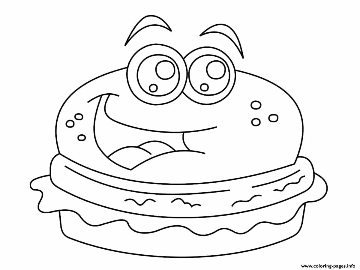 Burger Kawaii Coloring Pages Printable
