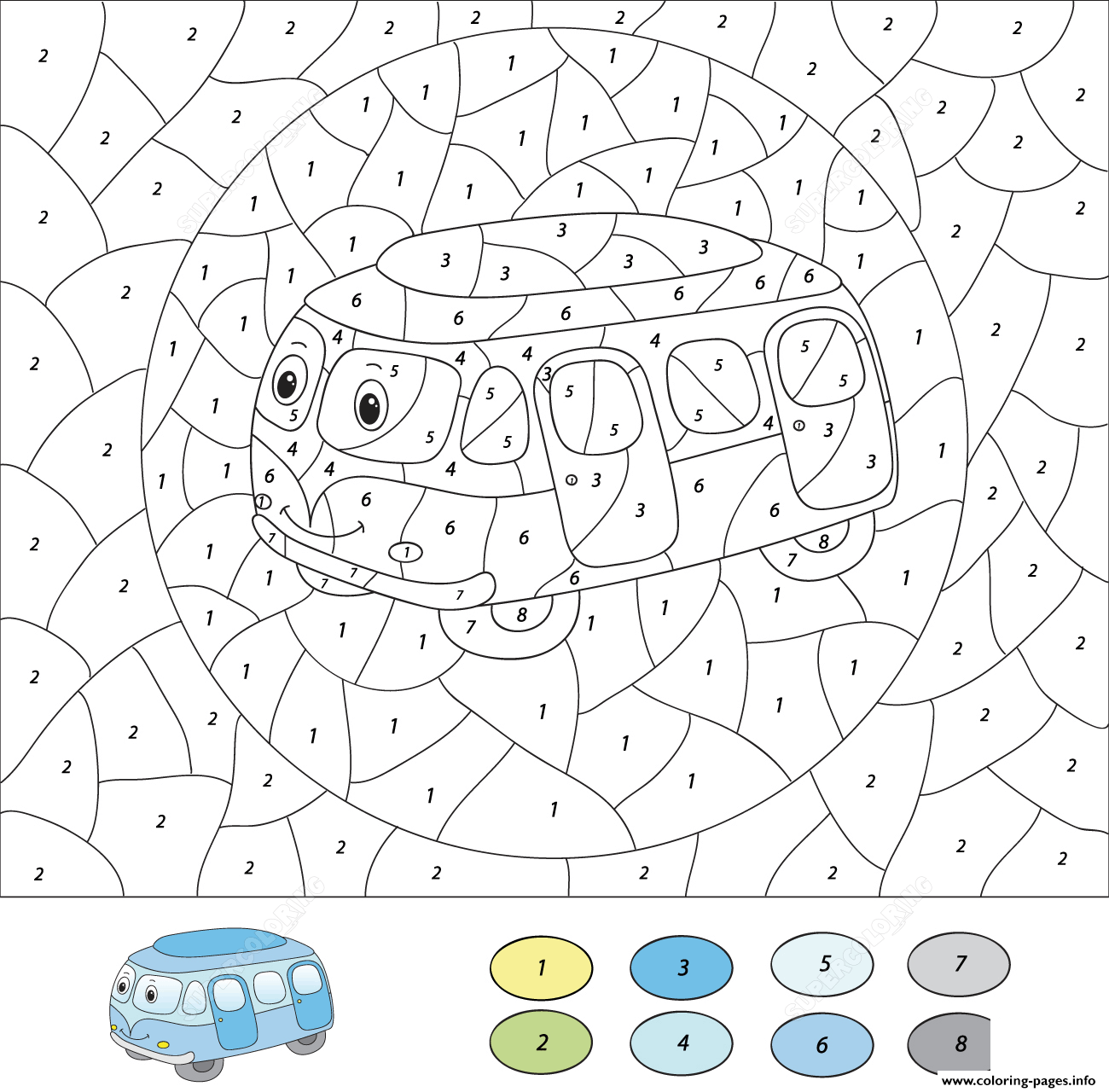 - Cartoon Bus Color By Number Free Printable Coloring Pages Printable