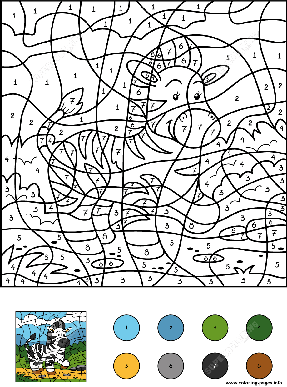 Color By Numbers Zebra Color By Number Coloring Pages Printable