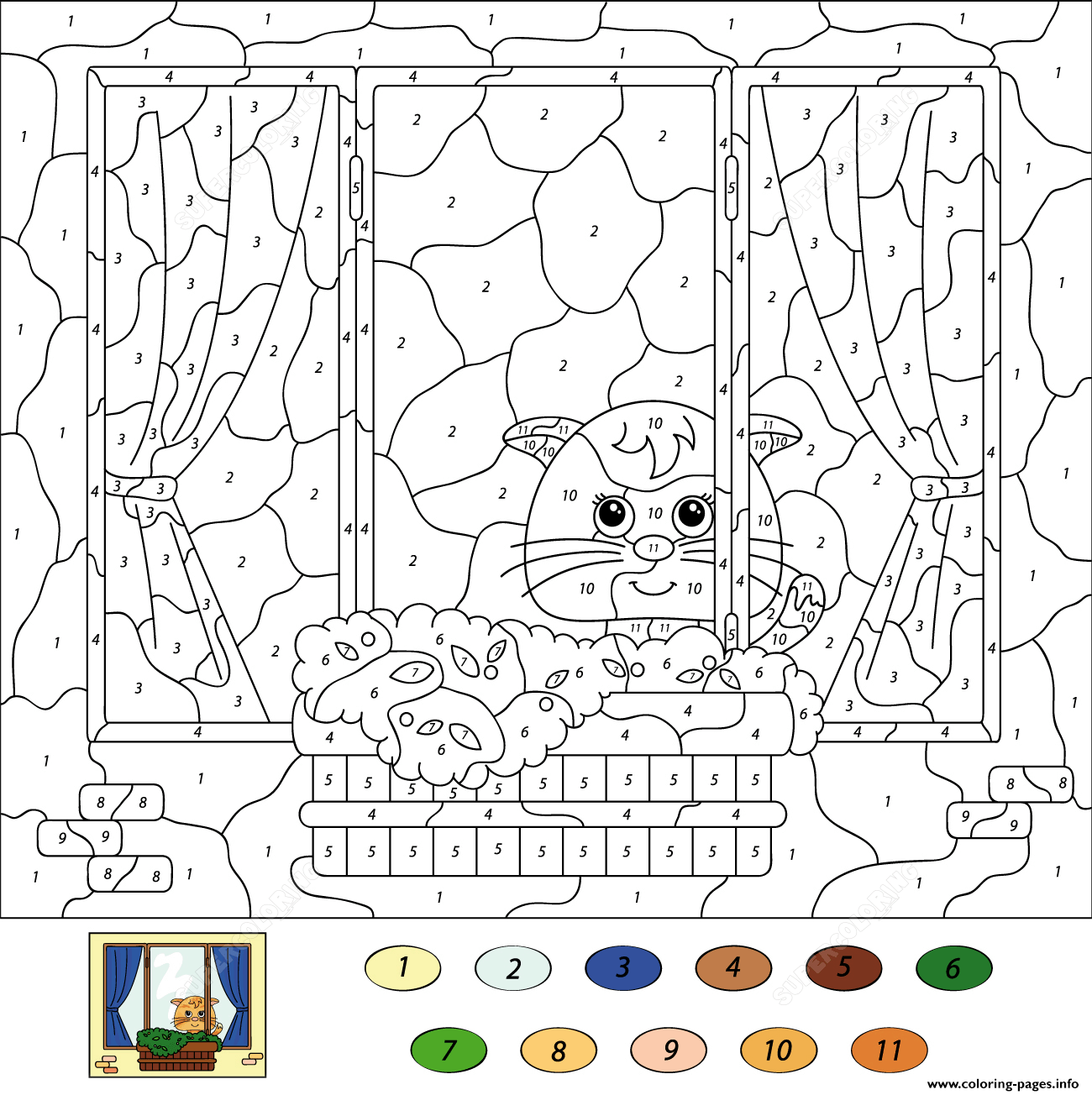 Cat Color By Number Coloring Pages Printable