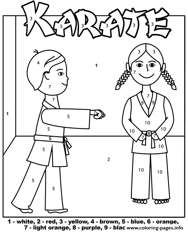 Karate Kids Color By Number Coloring Pages Printable