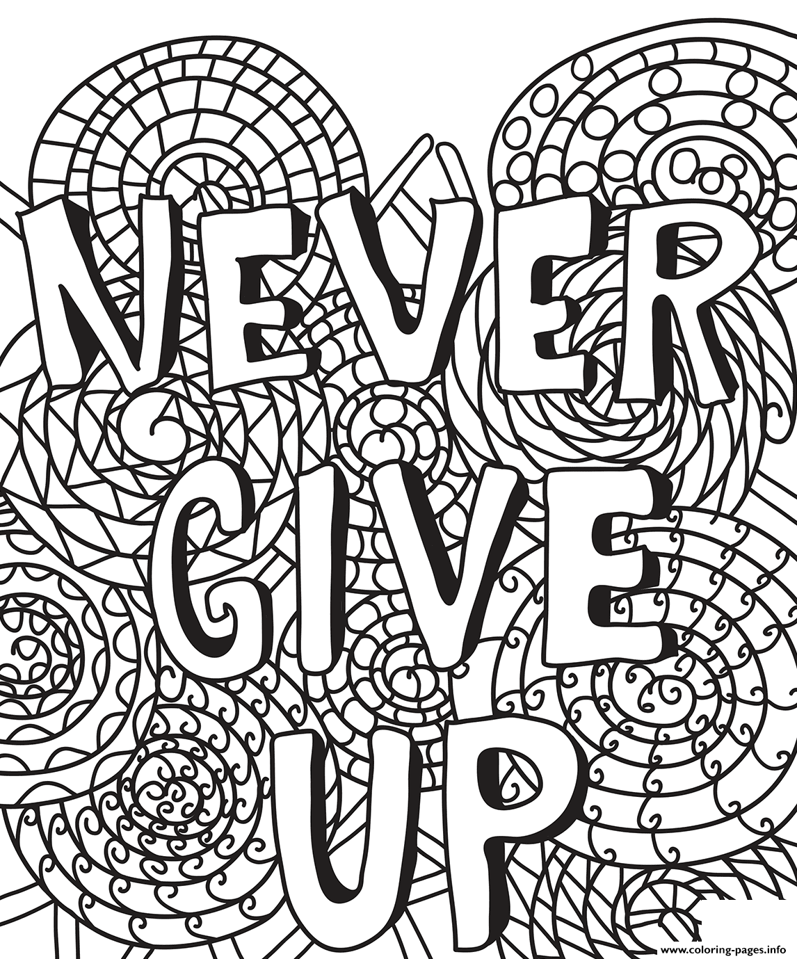 Never Give Up coloring pages